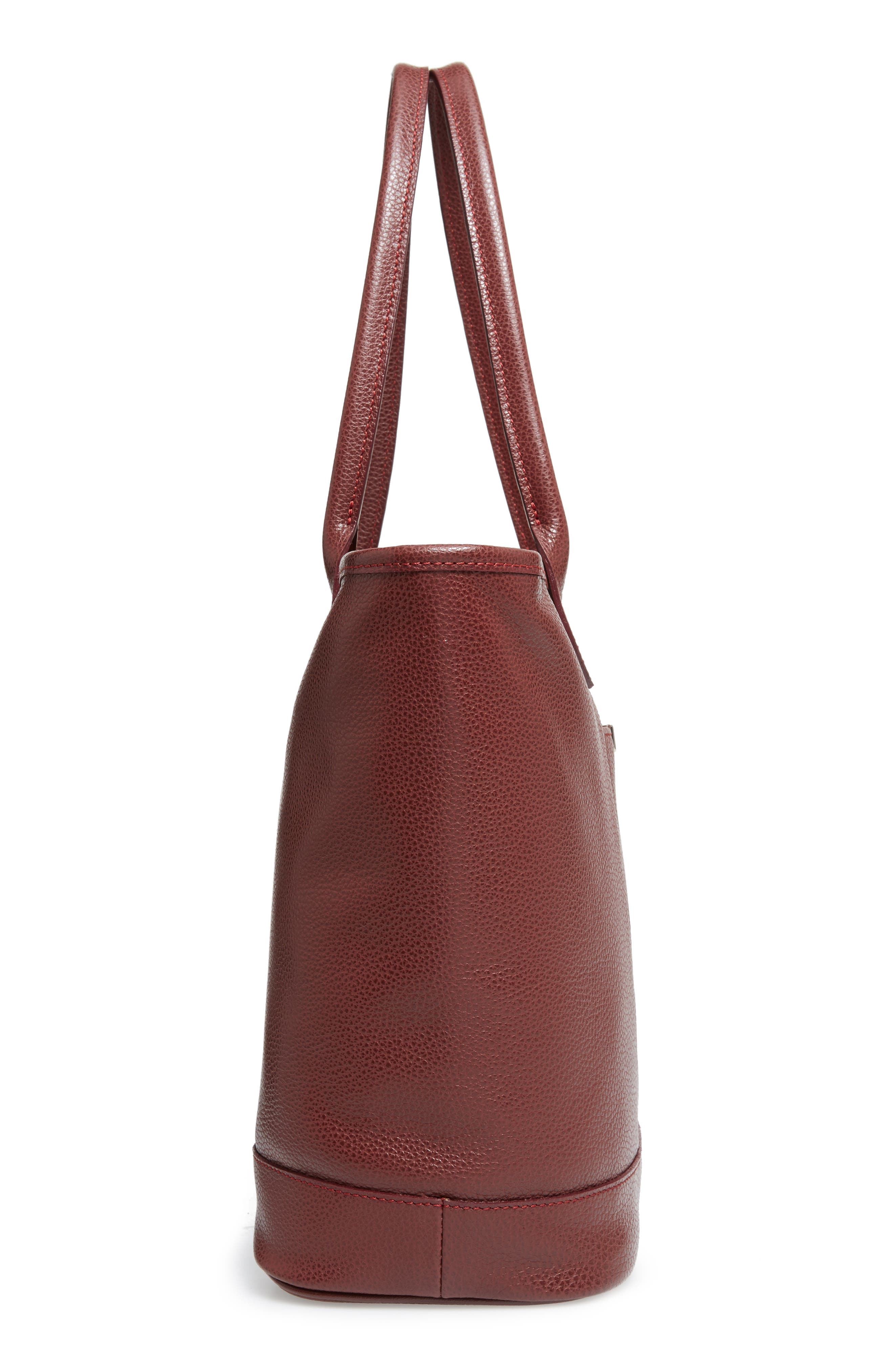 'Veau' Leather Tote,                             Alternate thumbnail 5, color,                             Red Lacquer