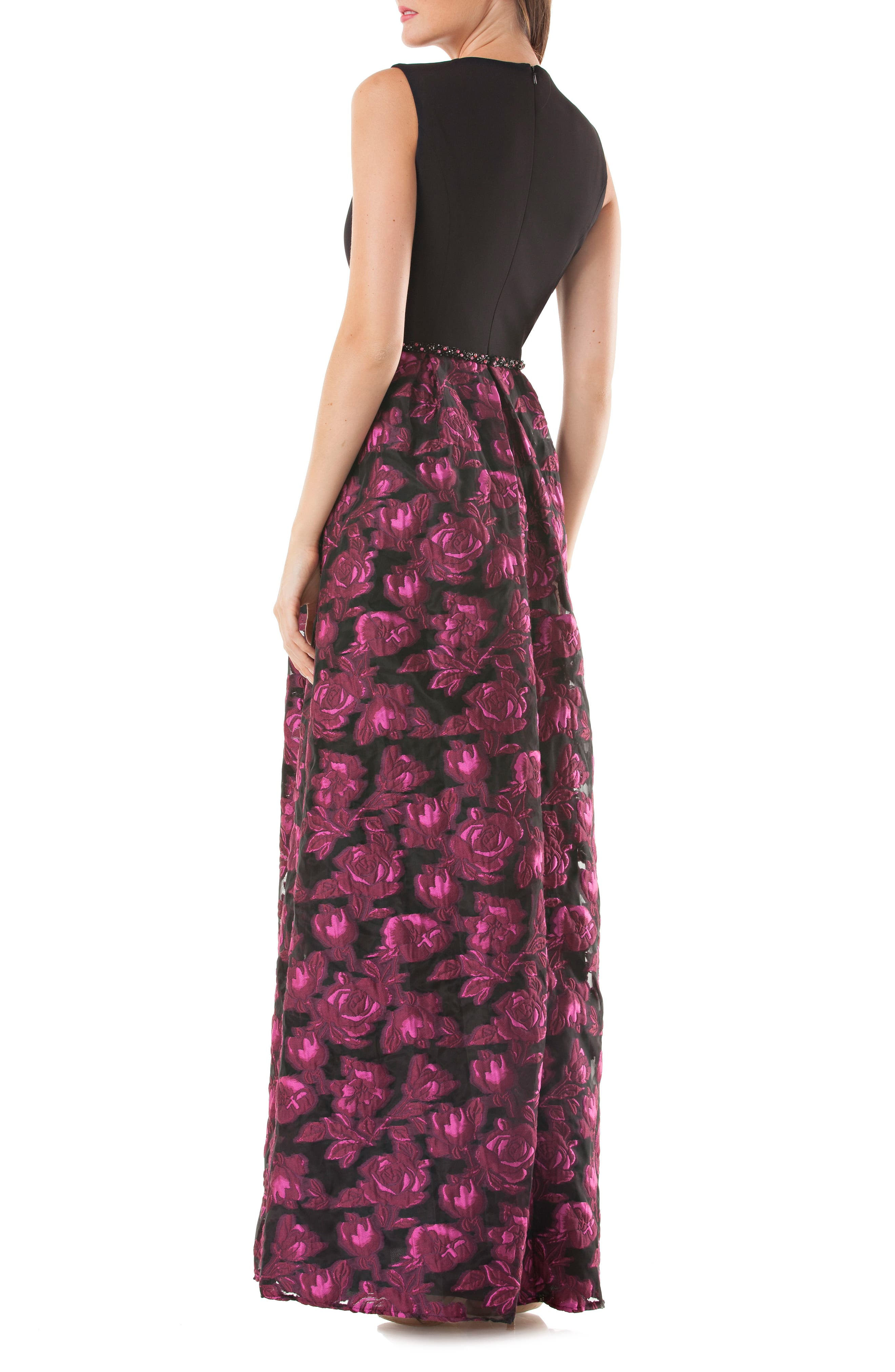 Carmen Marc Valvo Embellished Crepe & Brocade Gown,                             Alternate thumbnail 2, color,                             Black/ Fuchsia