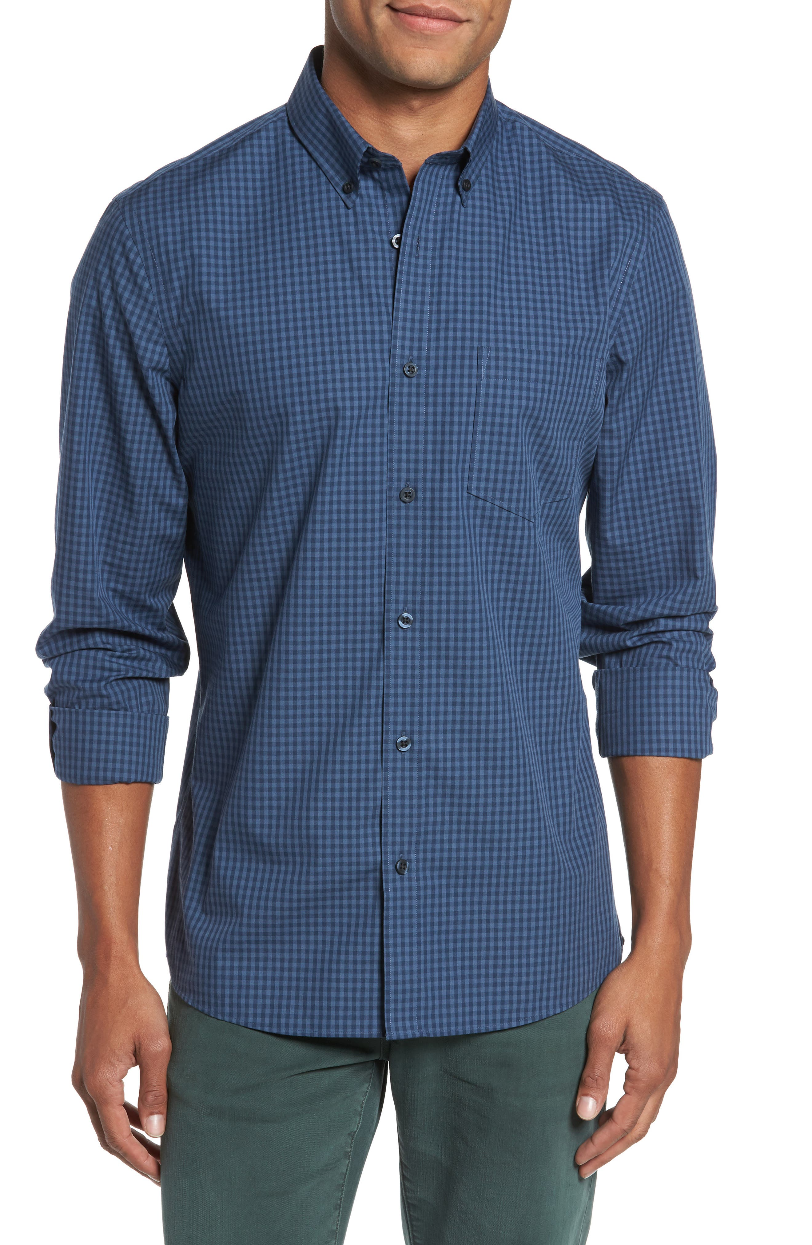 Trim Fit Non-Iron Gingham Sport Shirt,                         Main,                         color, Blue Vintage Navy Gingham