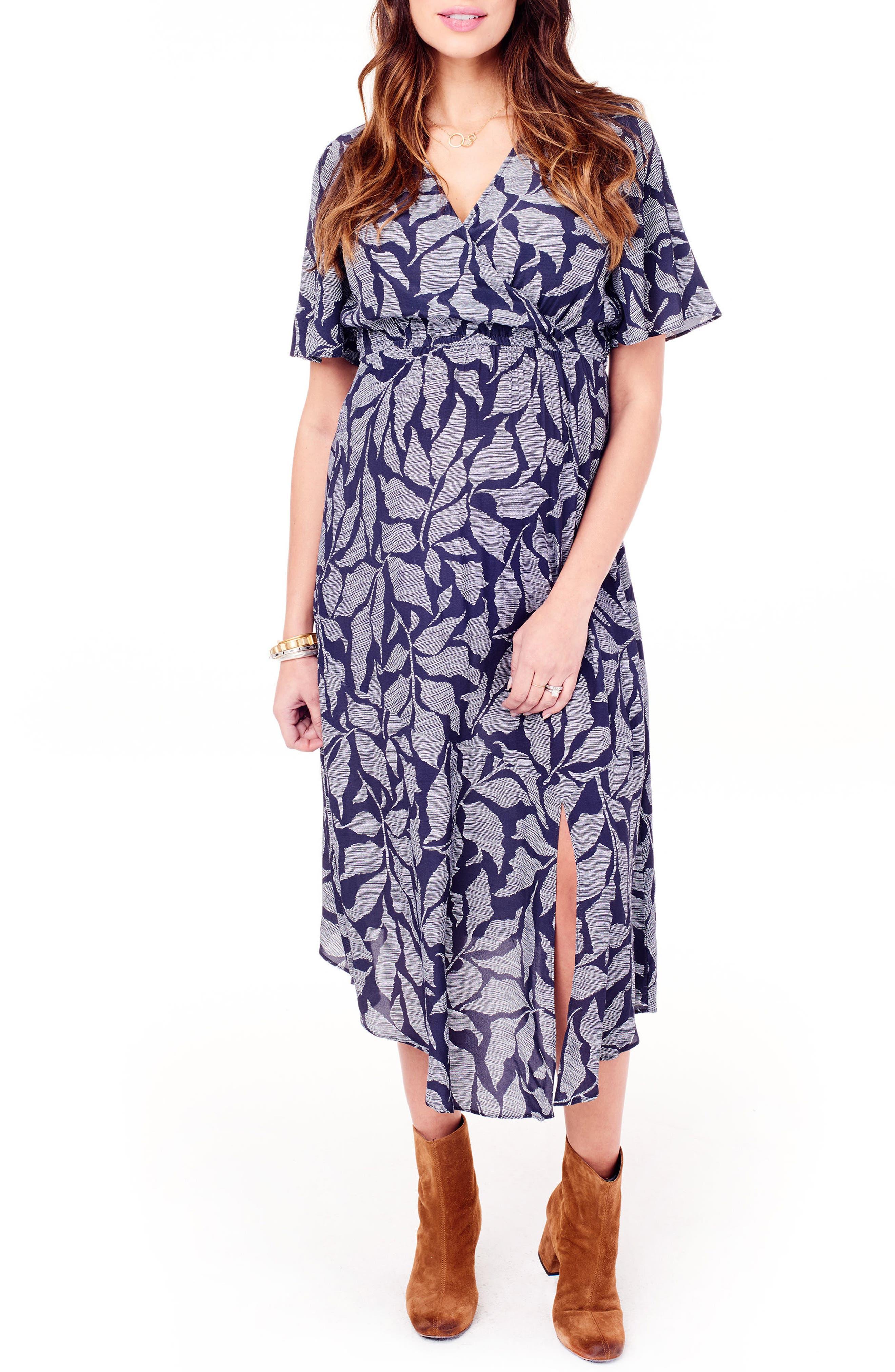 Flutter Sleeve Faux Wrap Maternity Dress,                             Main thumbnail 1, color,                             Navy Leaf Print