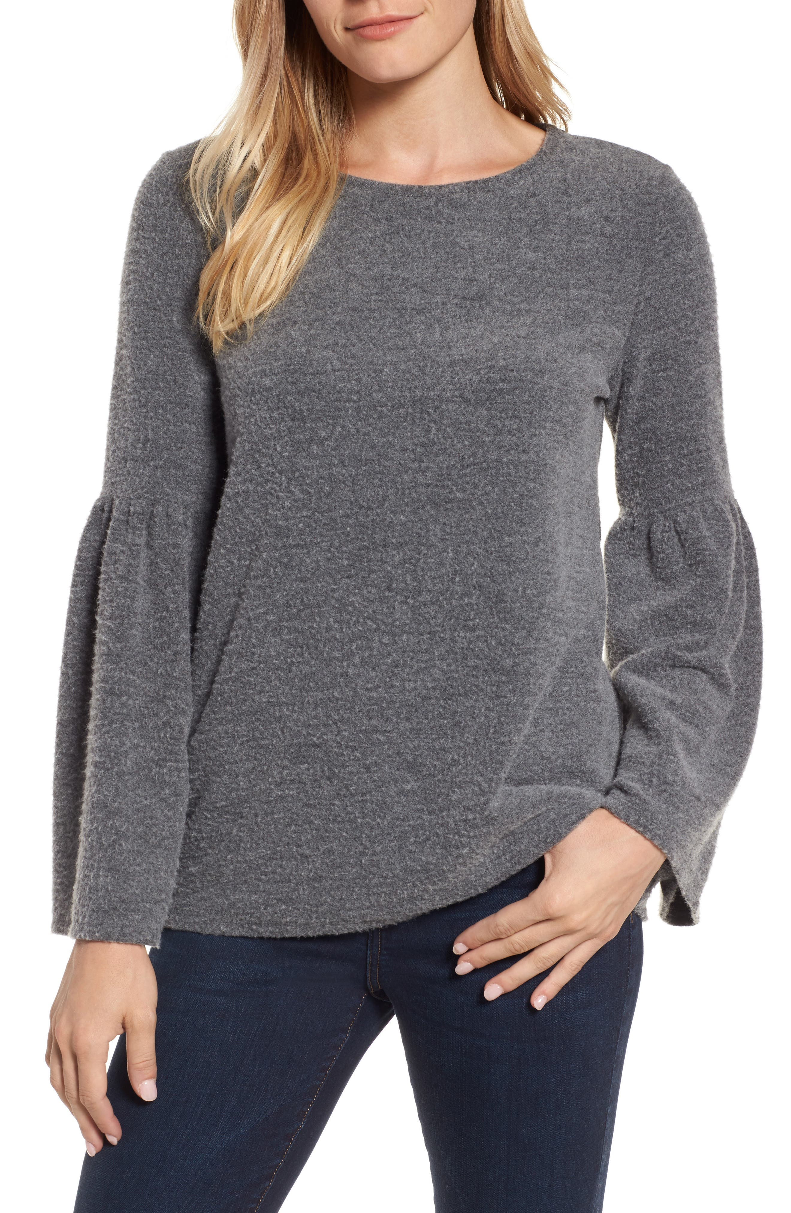 Main Image - Vince Camuto Ruched Bell Sleeve Fleece Top