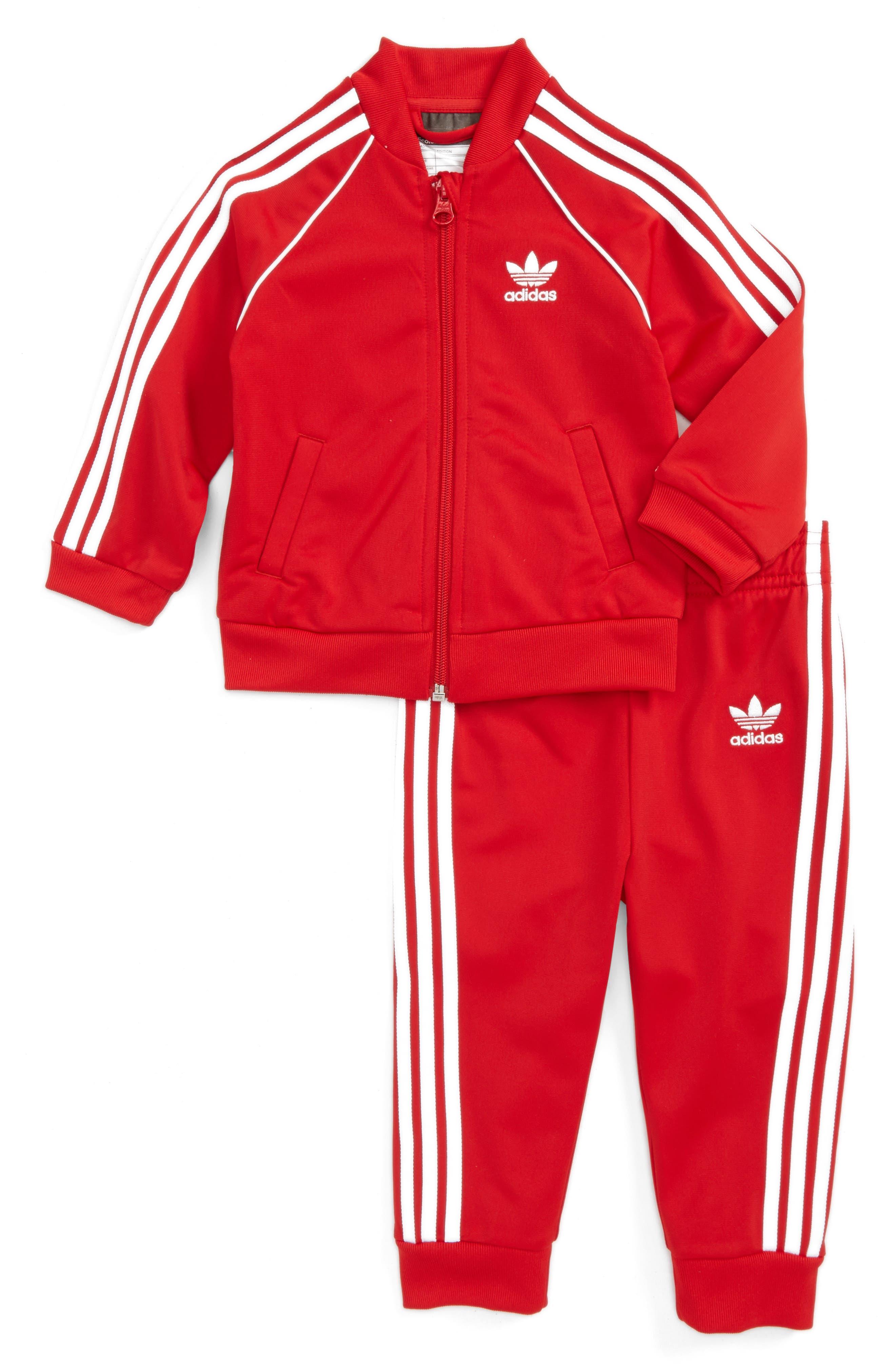 Originals Track Jacket & Athletic Pants Set,                             Main thumbnail 1, color,                             Scarlet