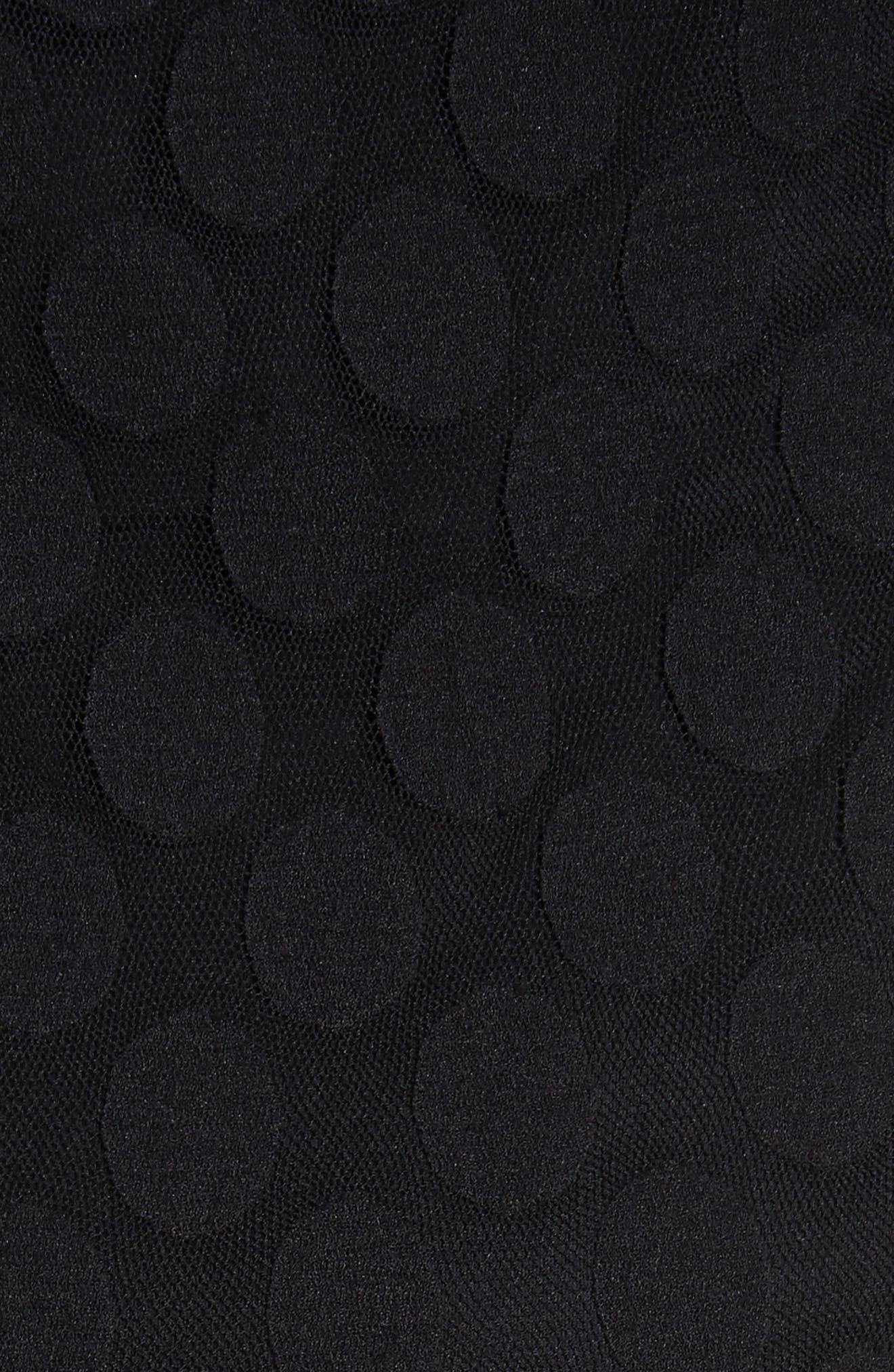 Dot Print Tulle Midi Dress,                             Alternate thumbnail 6, color,                             Nero