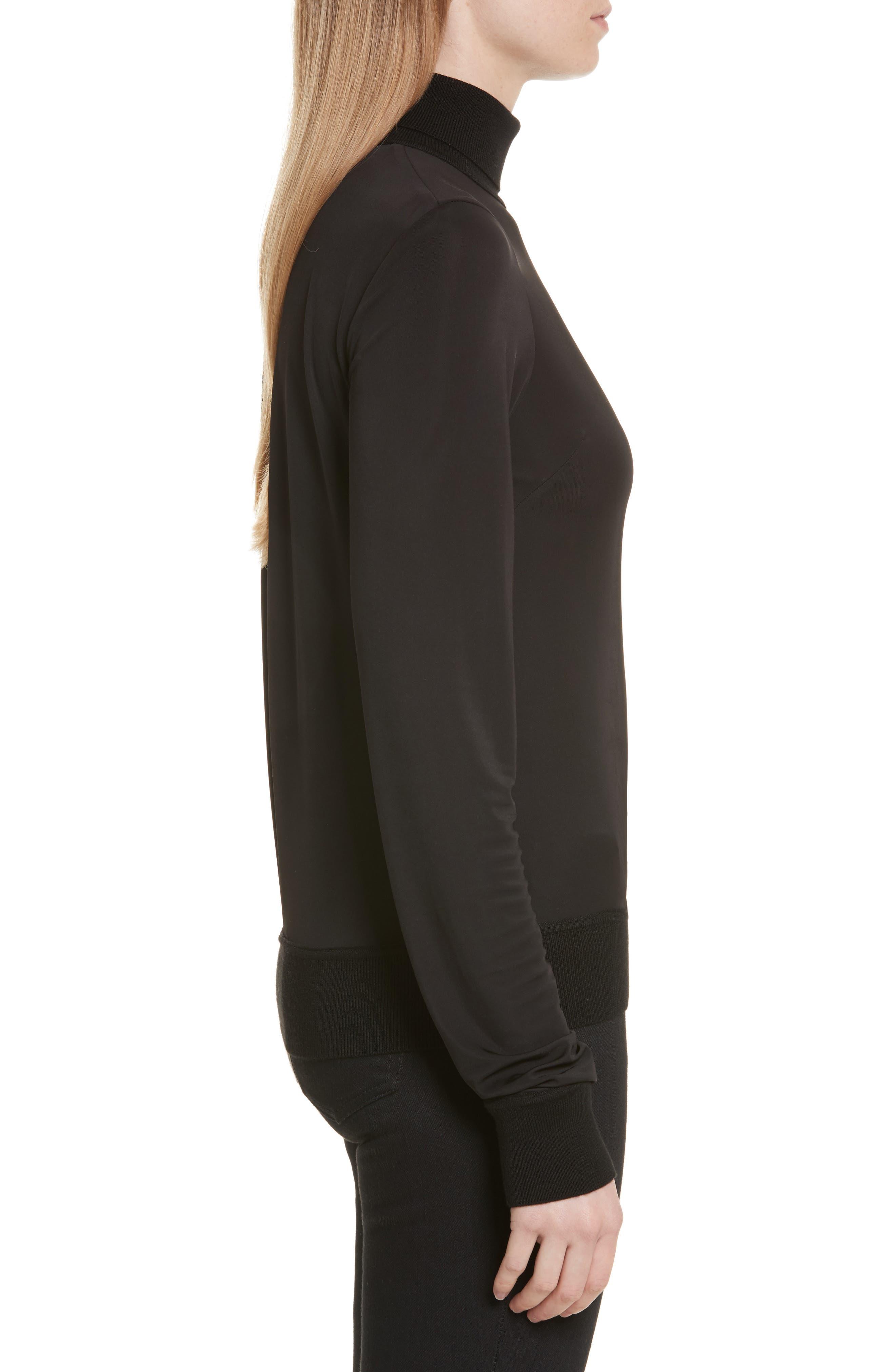 Merino Trim Turtleneck Sweater,                             Alternate thumbnail 3, color,                             Black