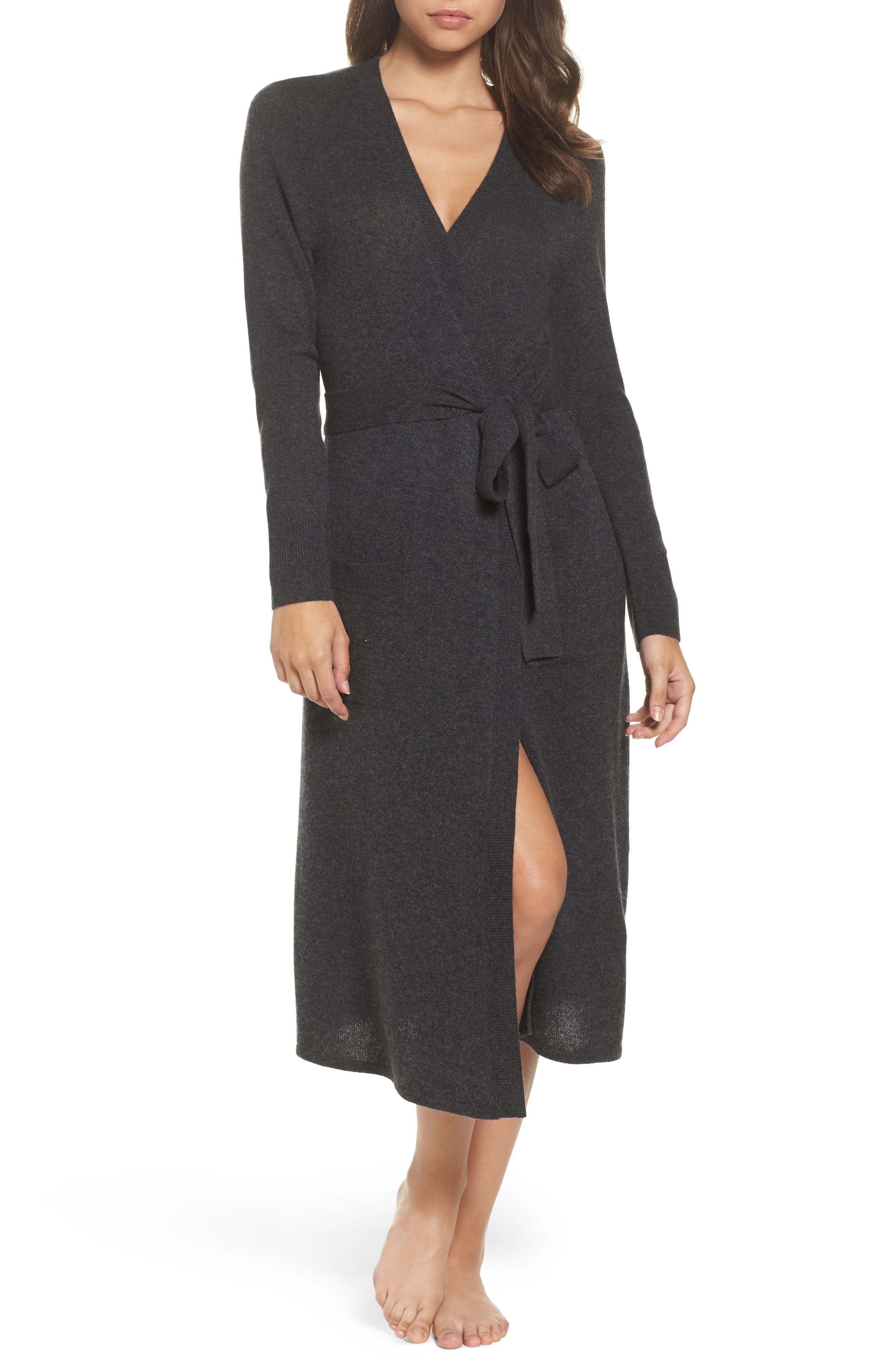 Cashmere Robe,                         Main,                         color, Charcoal
