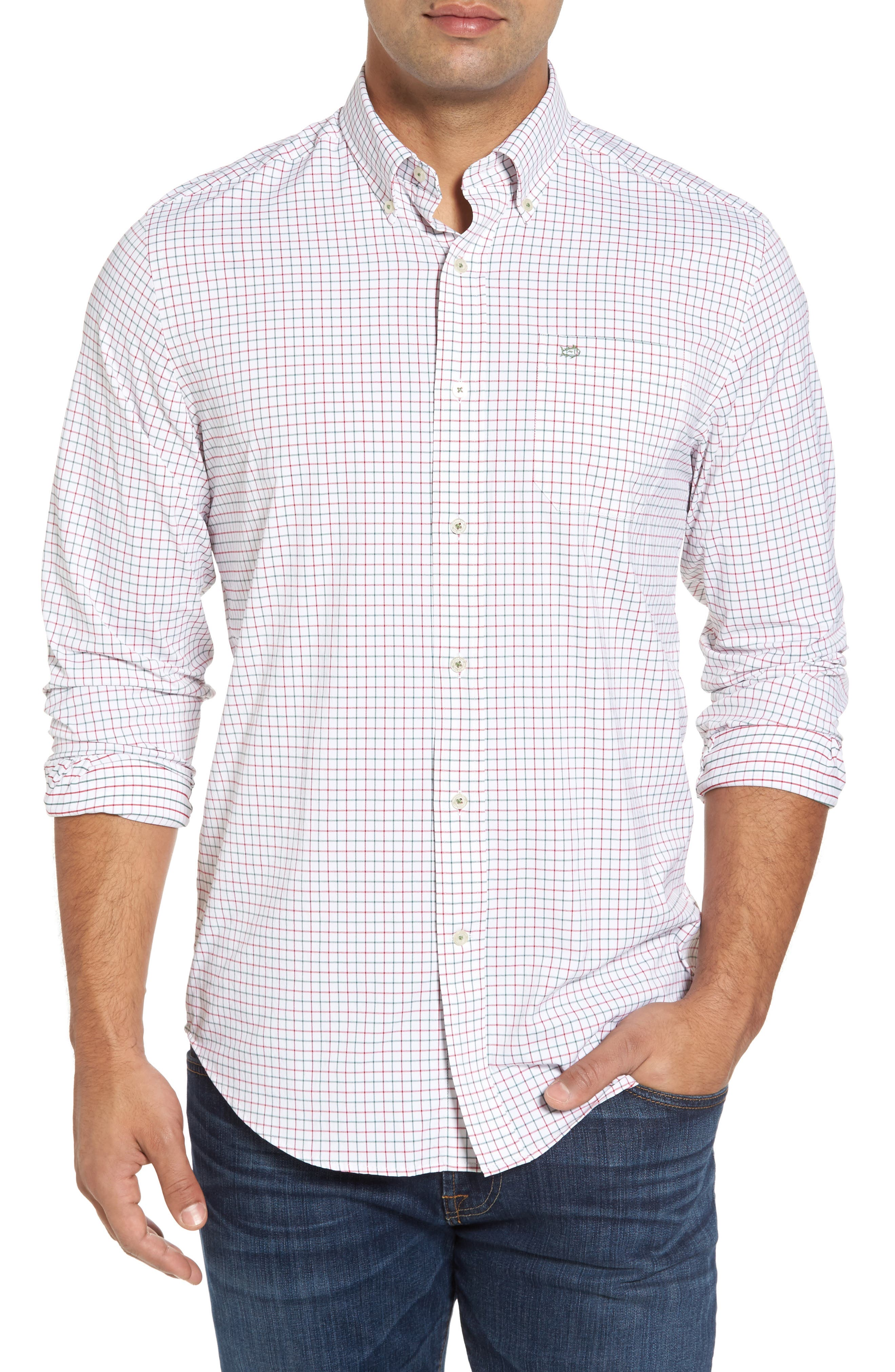 Cromwell Tattersall Performance Classic Fit Sport Shirt,                         Main,                         color, Classic White