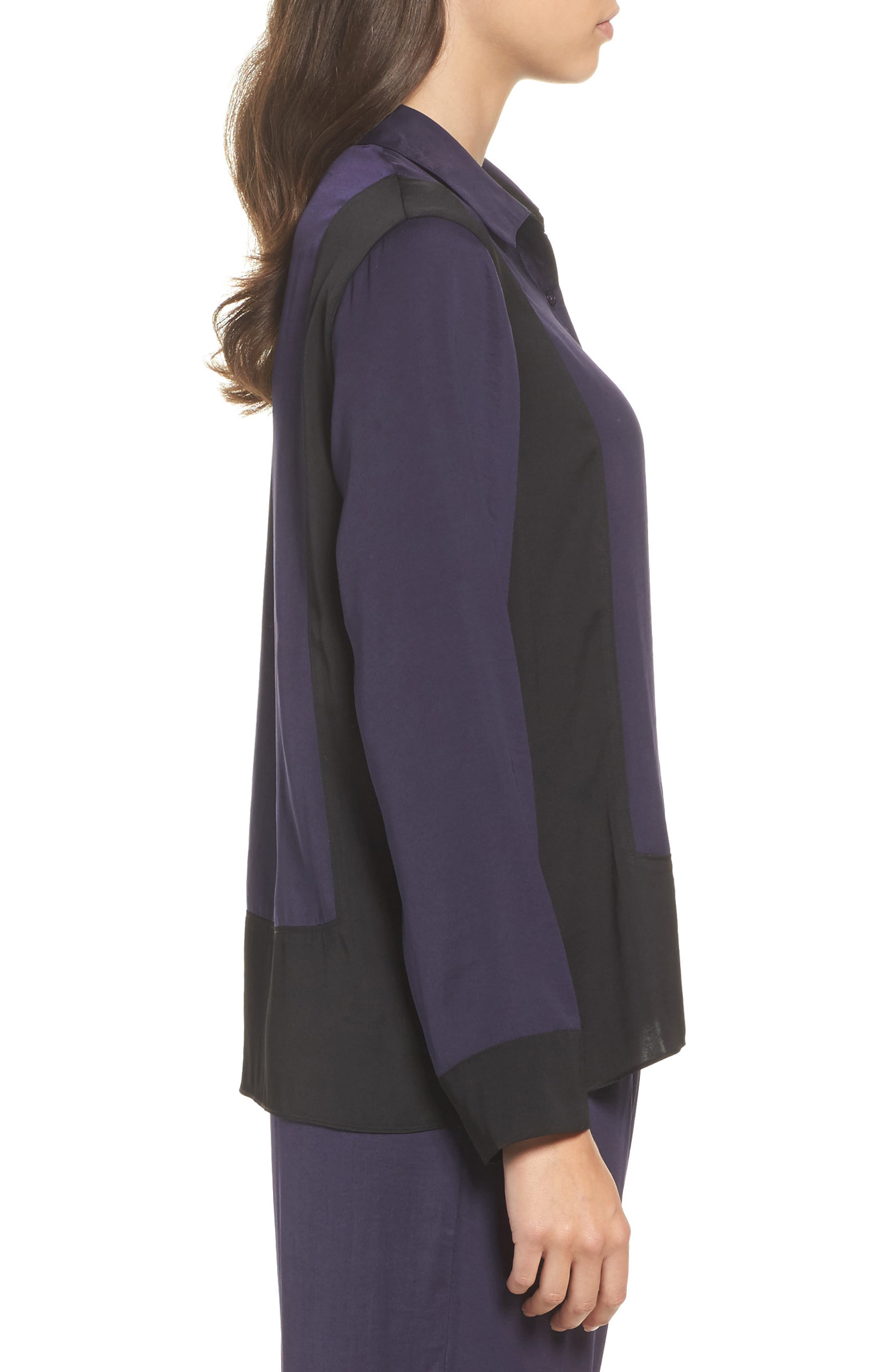 Colorblock Washed Satin Top,                             Alternate thumbnail 3, color,                             Plum