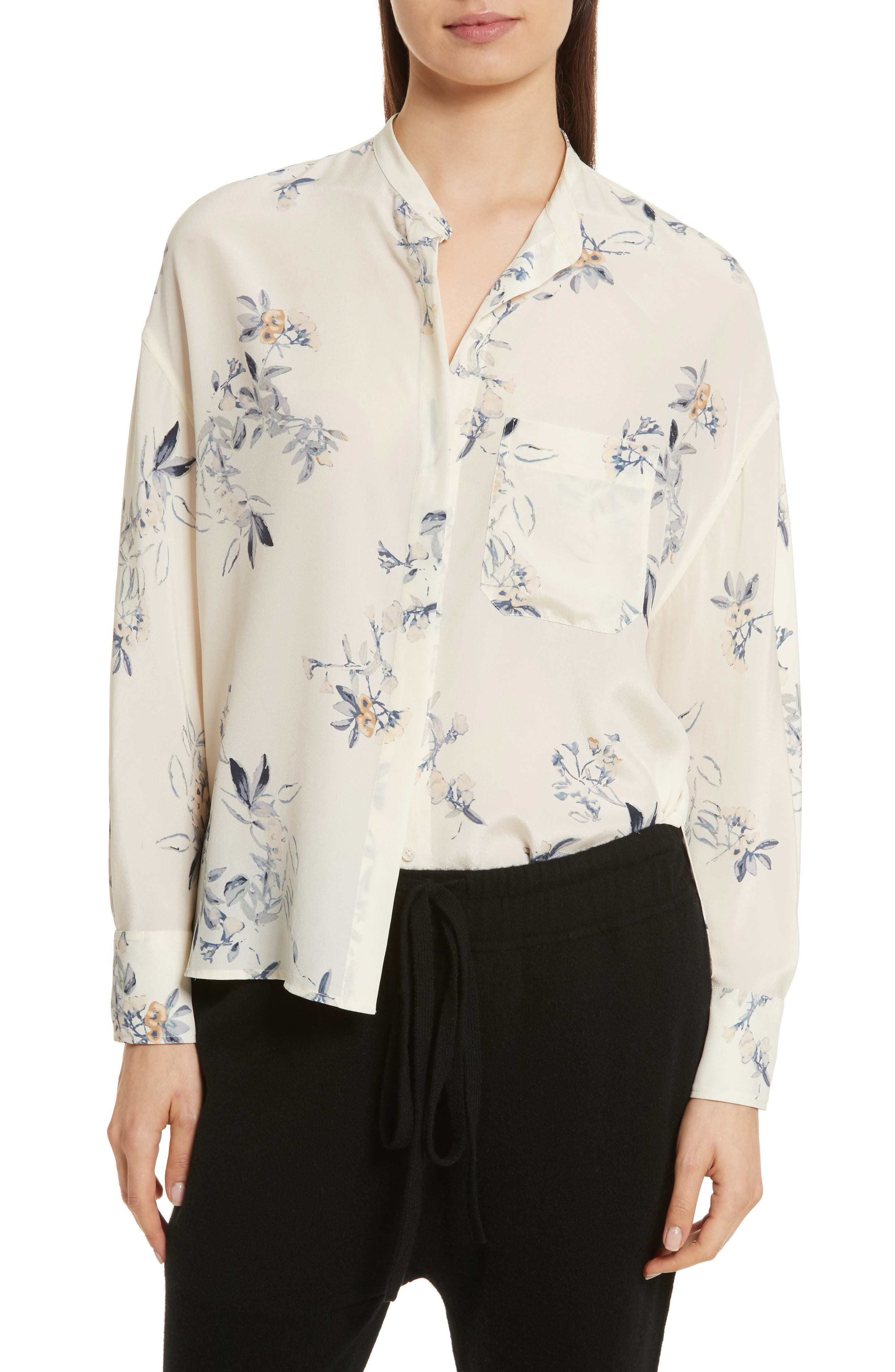 Floral Silk Blouse,                             Main thumbnail 1, color,                             Cream