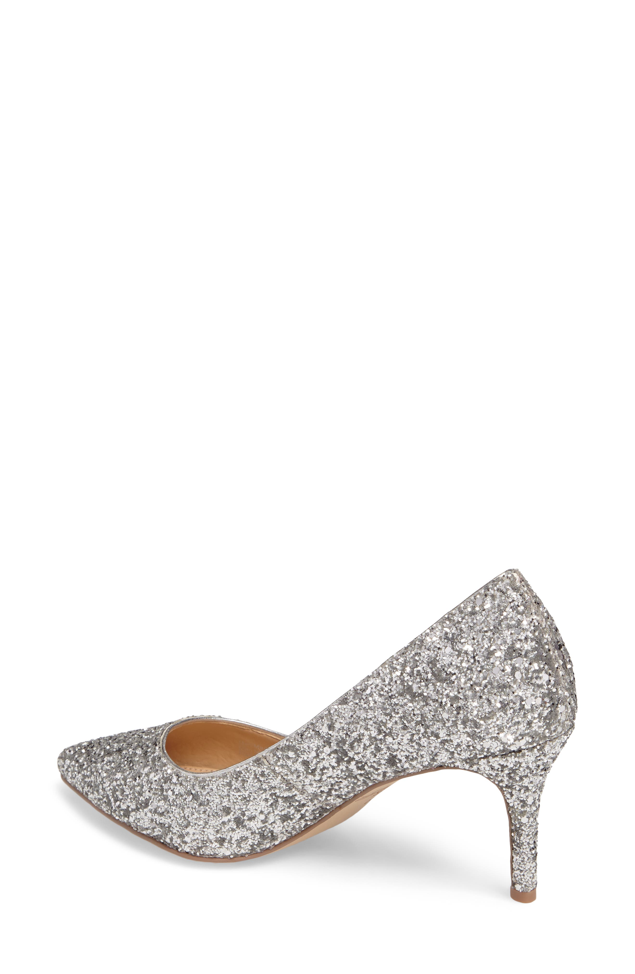 Lyla Glitter Pointy Toe Pump,                             Alternate thumbnail 2, color,                             Silver