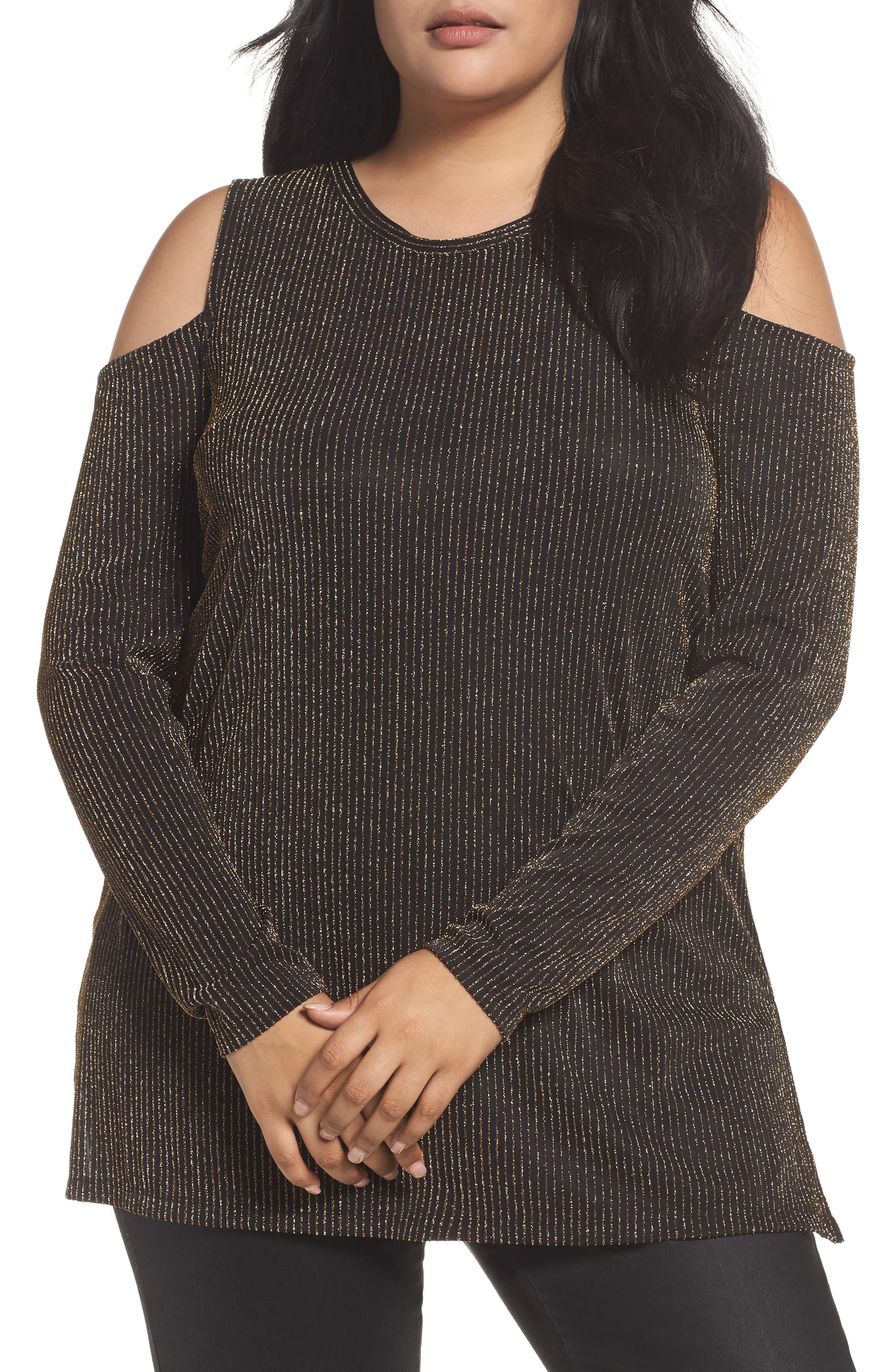 MICHAEL Michael Kors Cold Shoulder Sparkle Top (Plus Size)