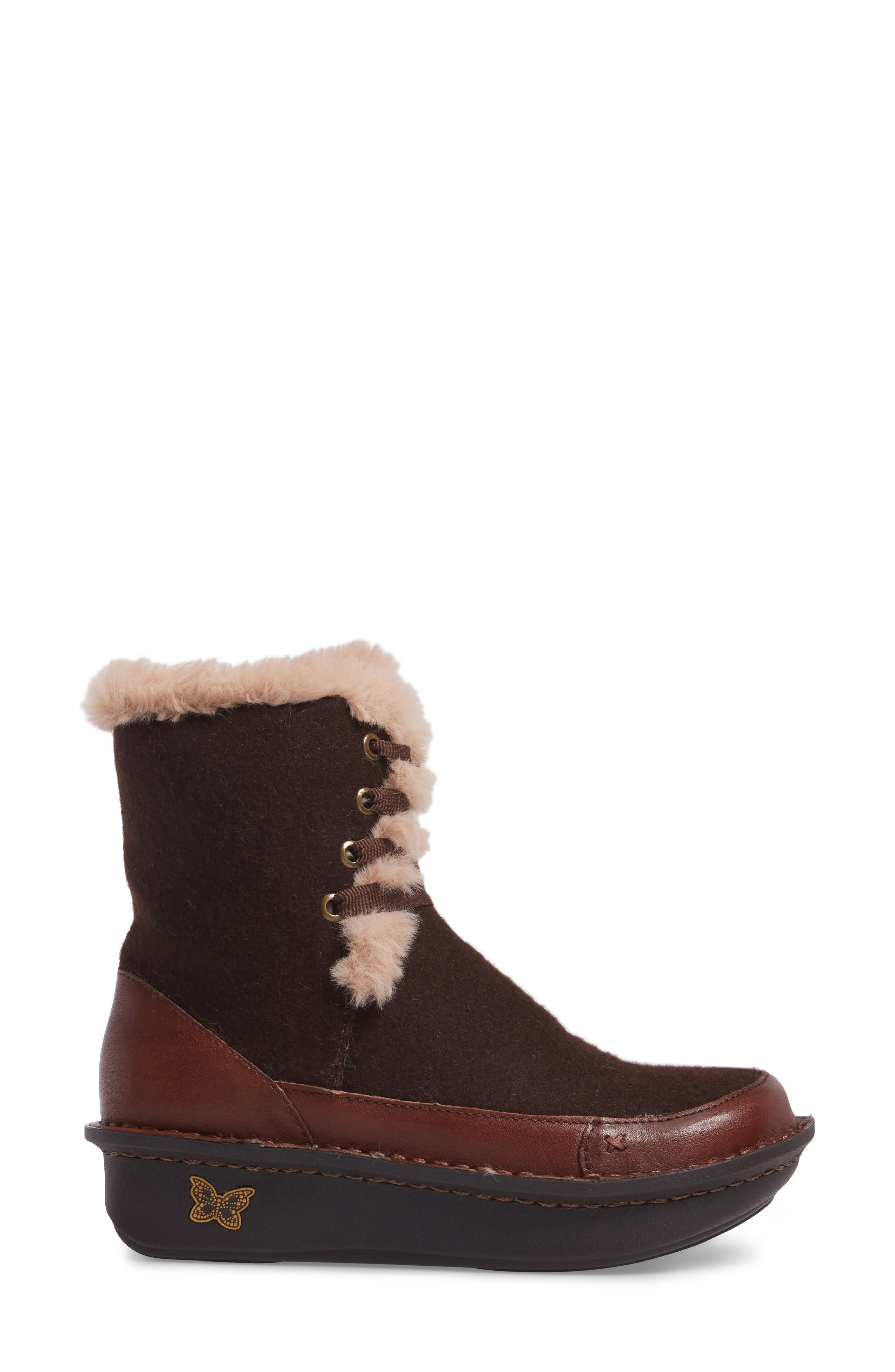 Twisp Lace-Up Boot with Faux Fur Lining,                             Alternate thumbnail 3, color,                             Hazelnut Wool Leather