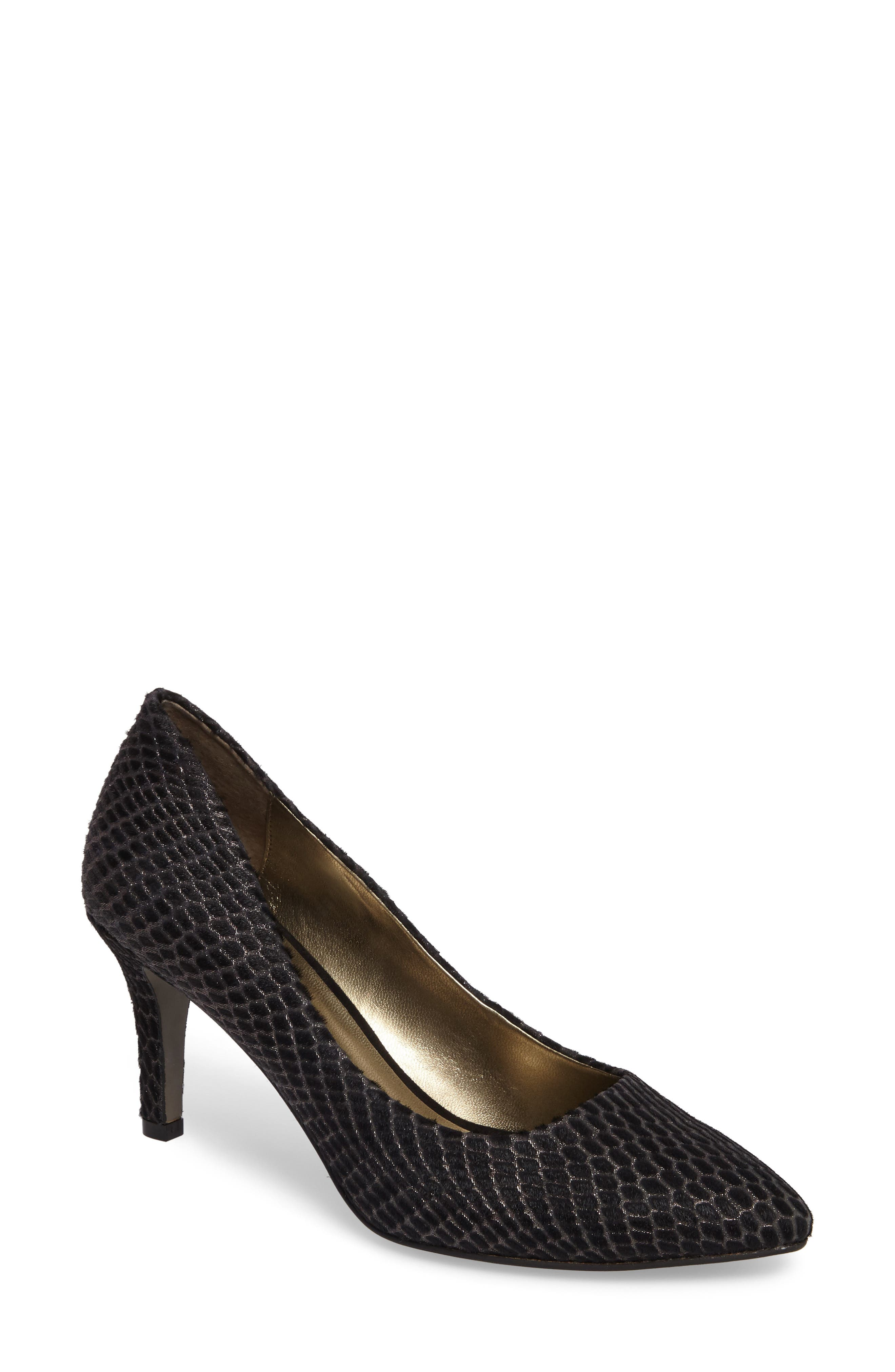 Symphony Pointy Toe Pump,                             Main thumbnail 1, color,                             Black Leather