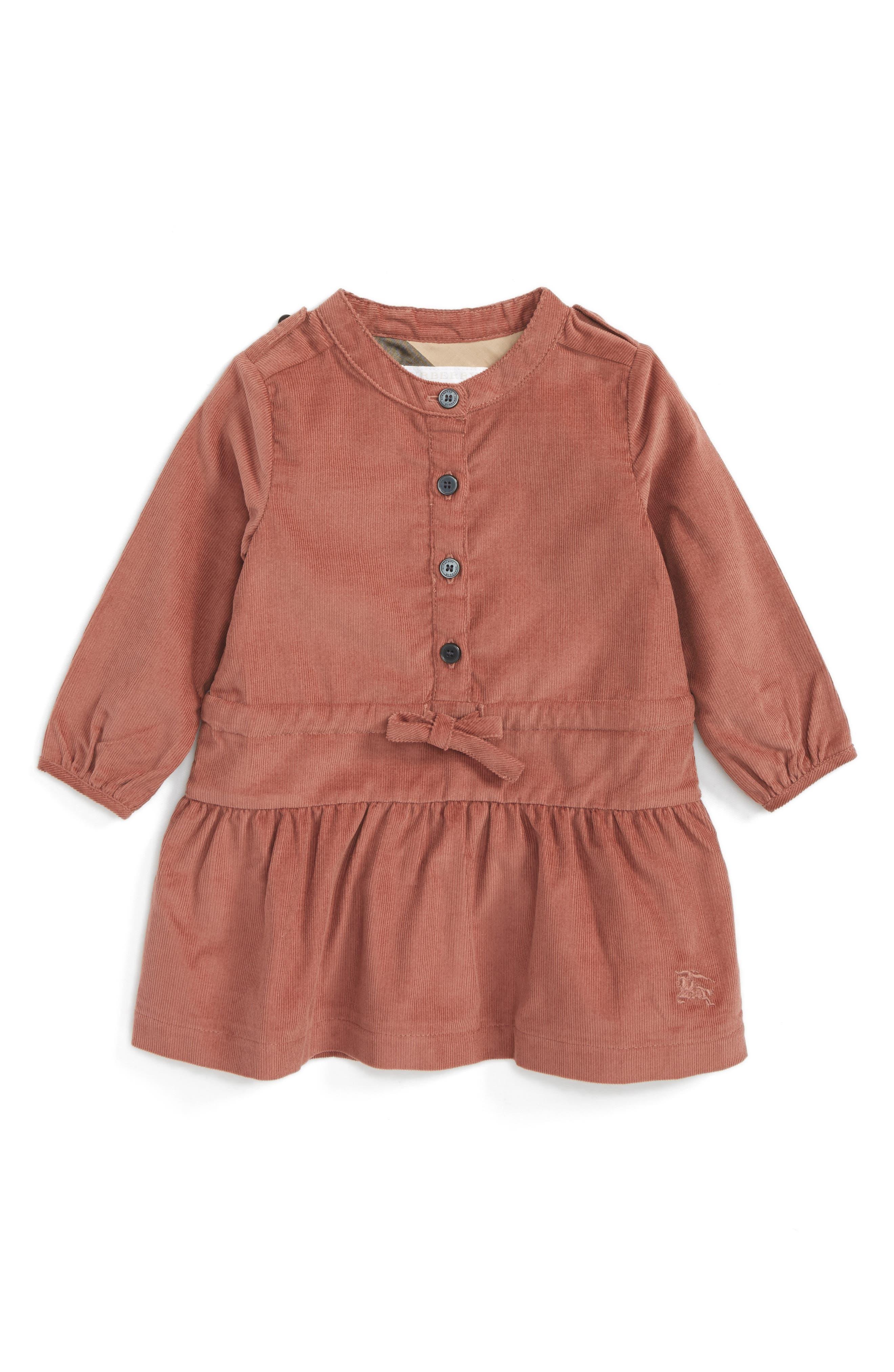 Main Image - Burberry Mini Celestine Corduroy Dress (Baby Girls)