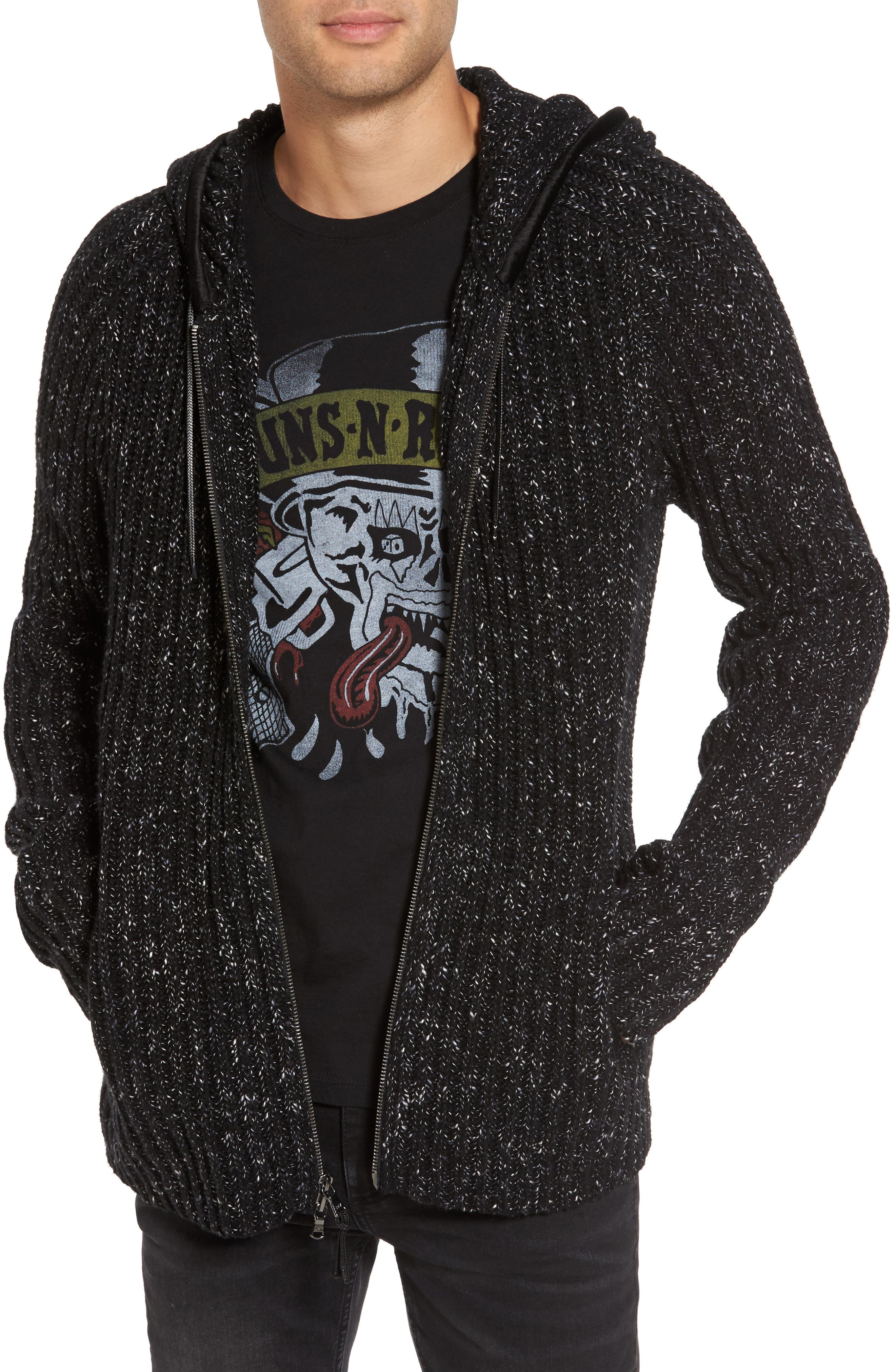 Ribbed Wool Zip Hoodie,                         Main,                         color, Black