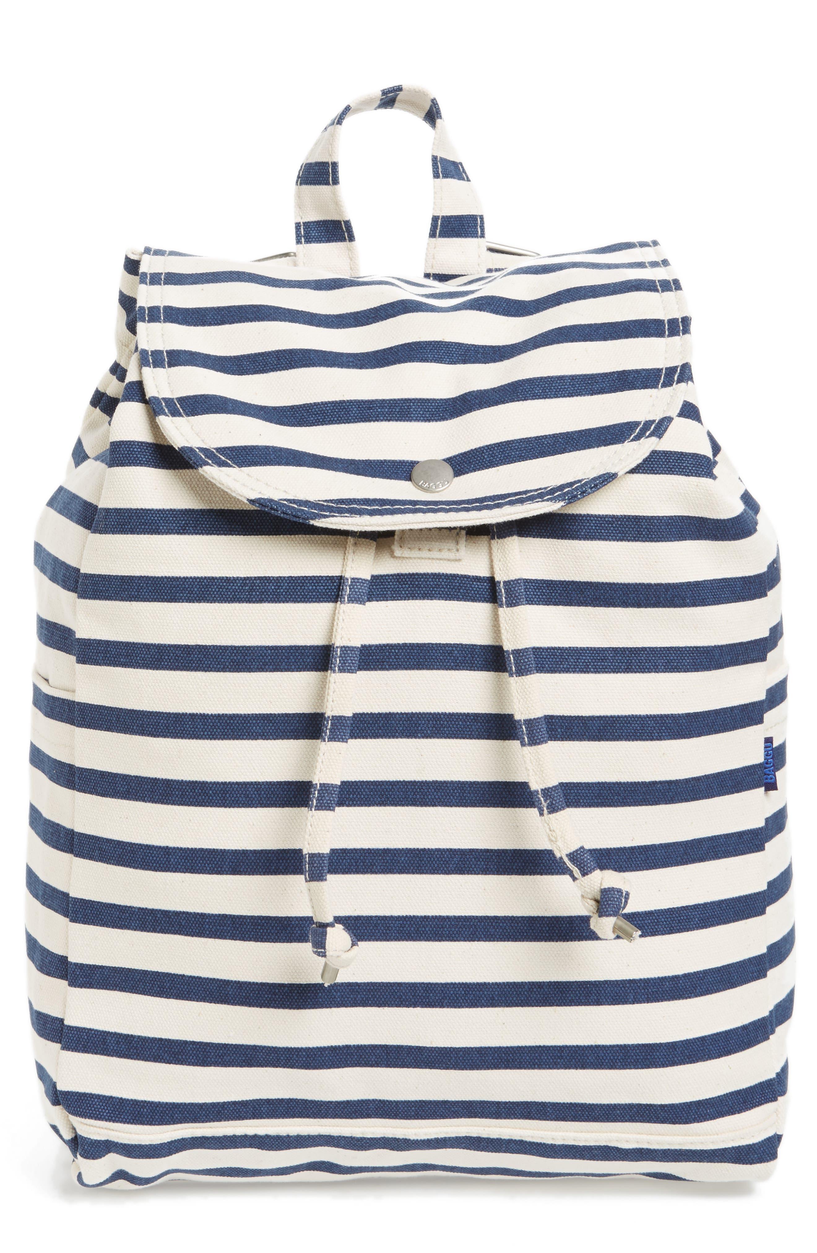 Drawstring Canvas Backpack,                             Main thumbnail 1, color,                             Sailor Stripe