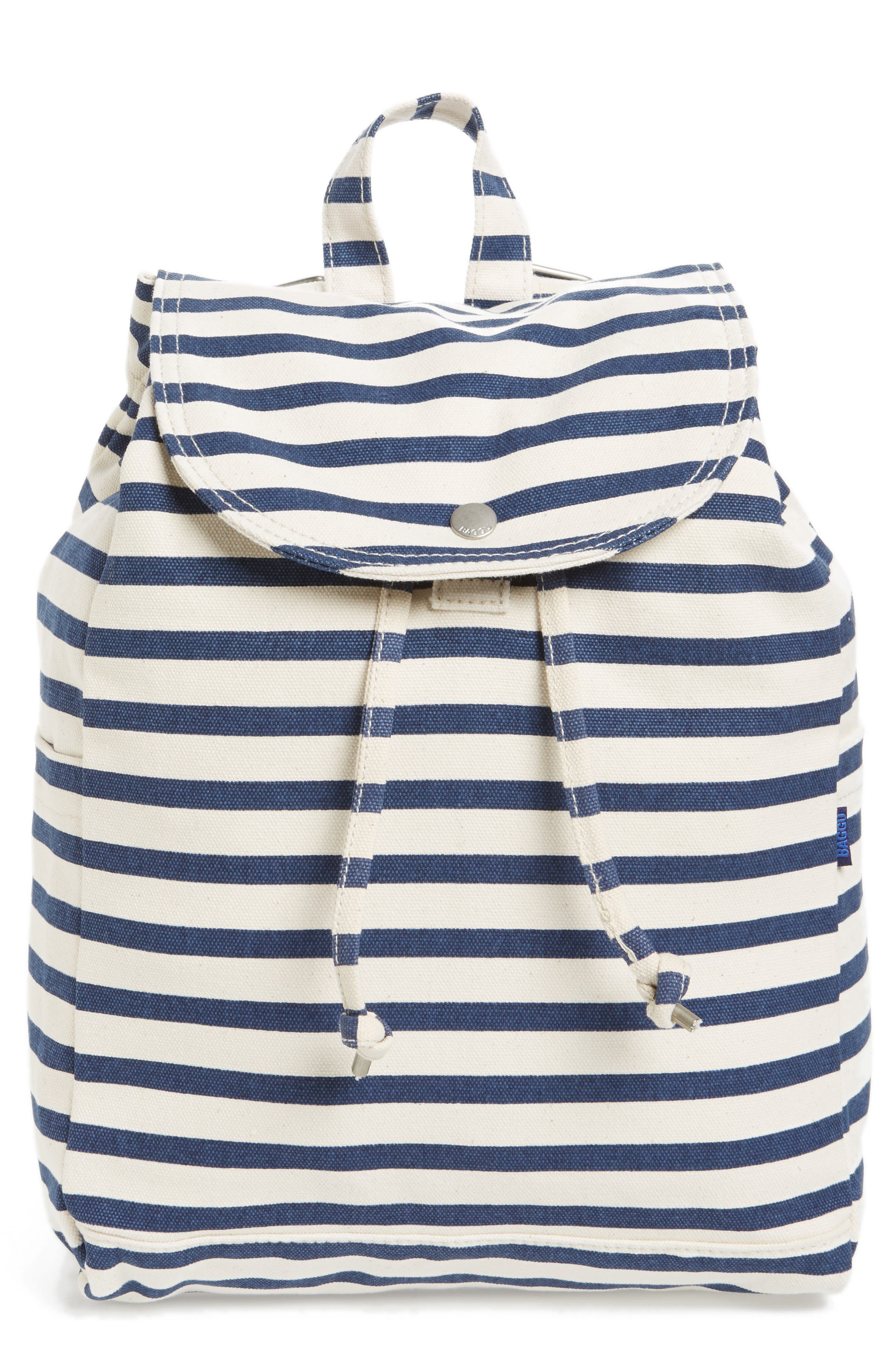 Drawstring Canvas Backpack,                         Main,                         color, Sailor Stripe