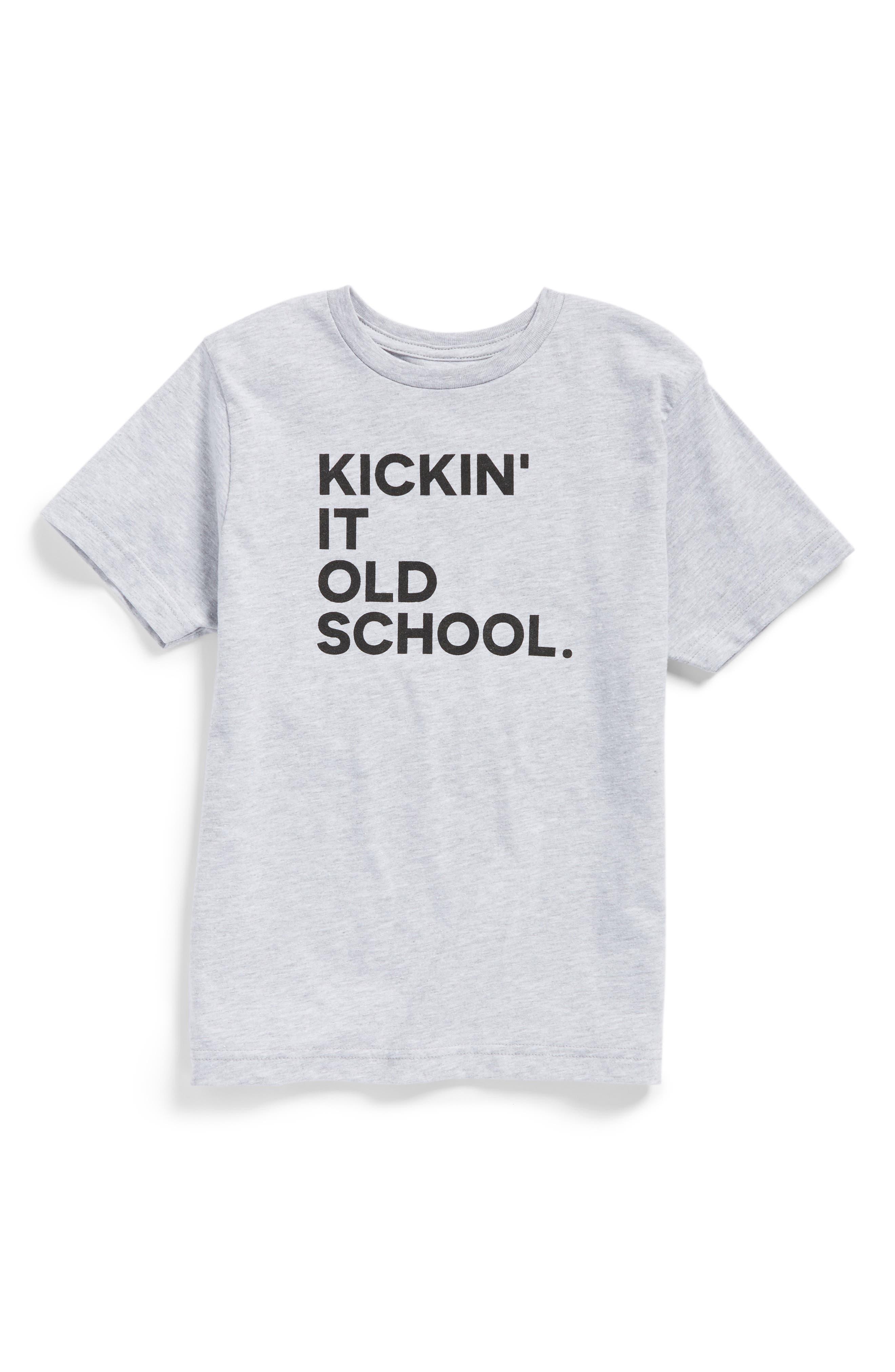 Kickin' It Old School Graphic T-Shirt,                         Main,                         color, Heather Grey