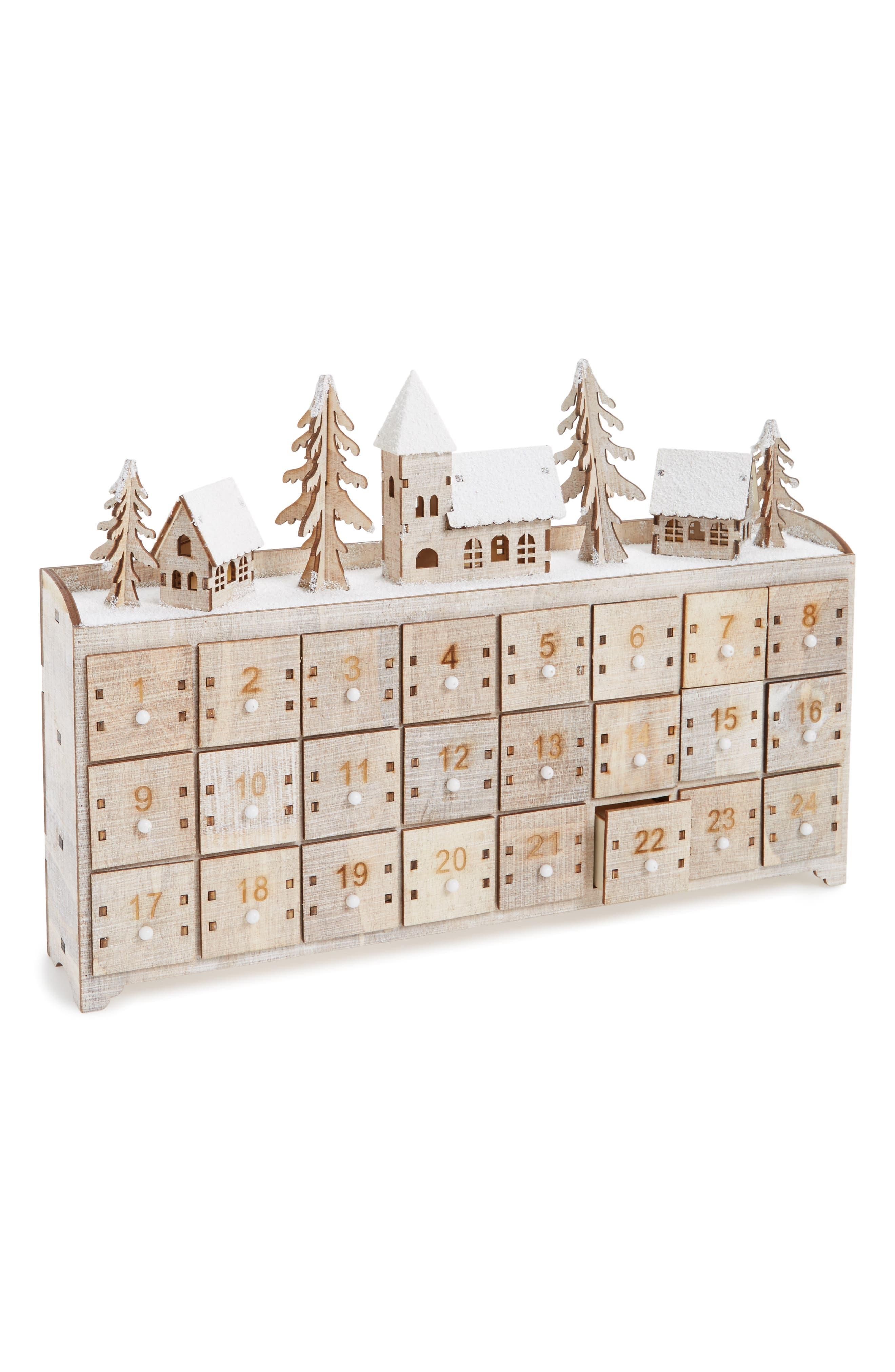 Light-Up Advent Calendar,                         Main,                         color, Natural Wood