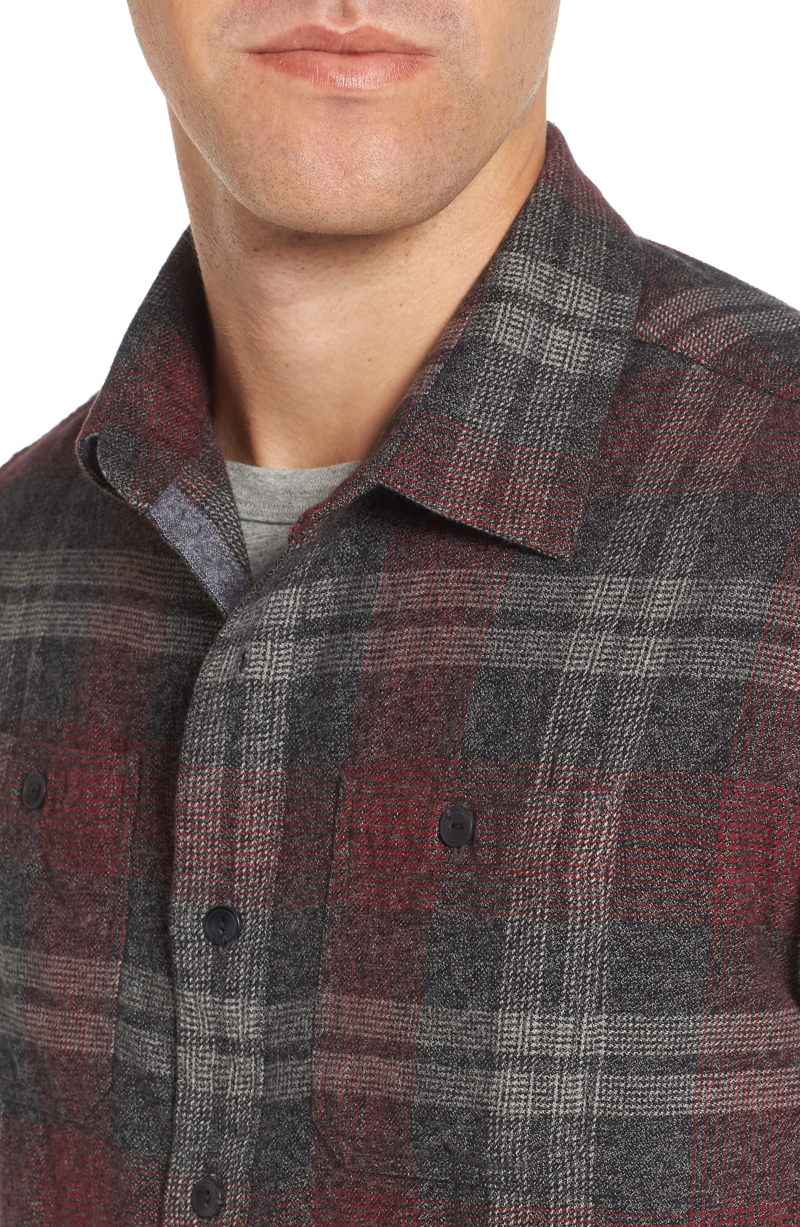 Marston Lux Plaid Flannel Shirt,                             Alternate thumbnail 4, color,                             Charcoal Burgundy