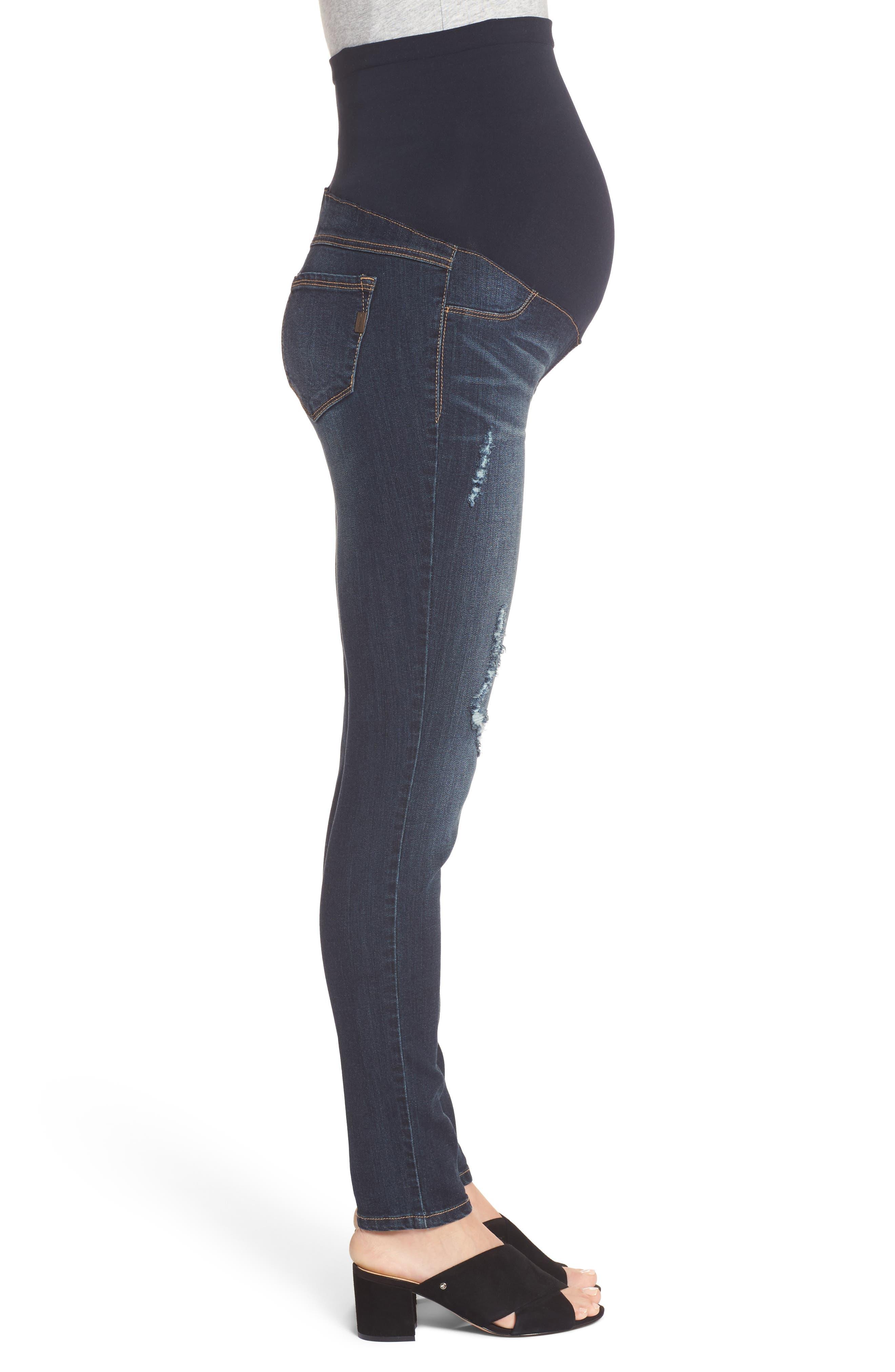 Alternate Image 3  - 1822 Denim Destructed Maternity Skinny Jeans (Hazel)