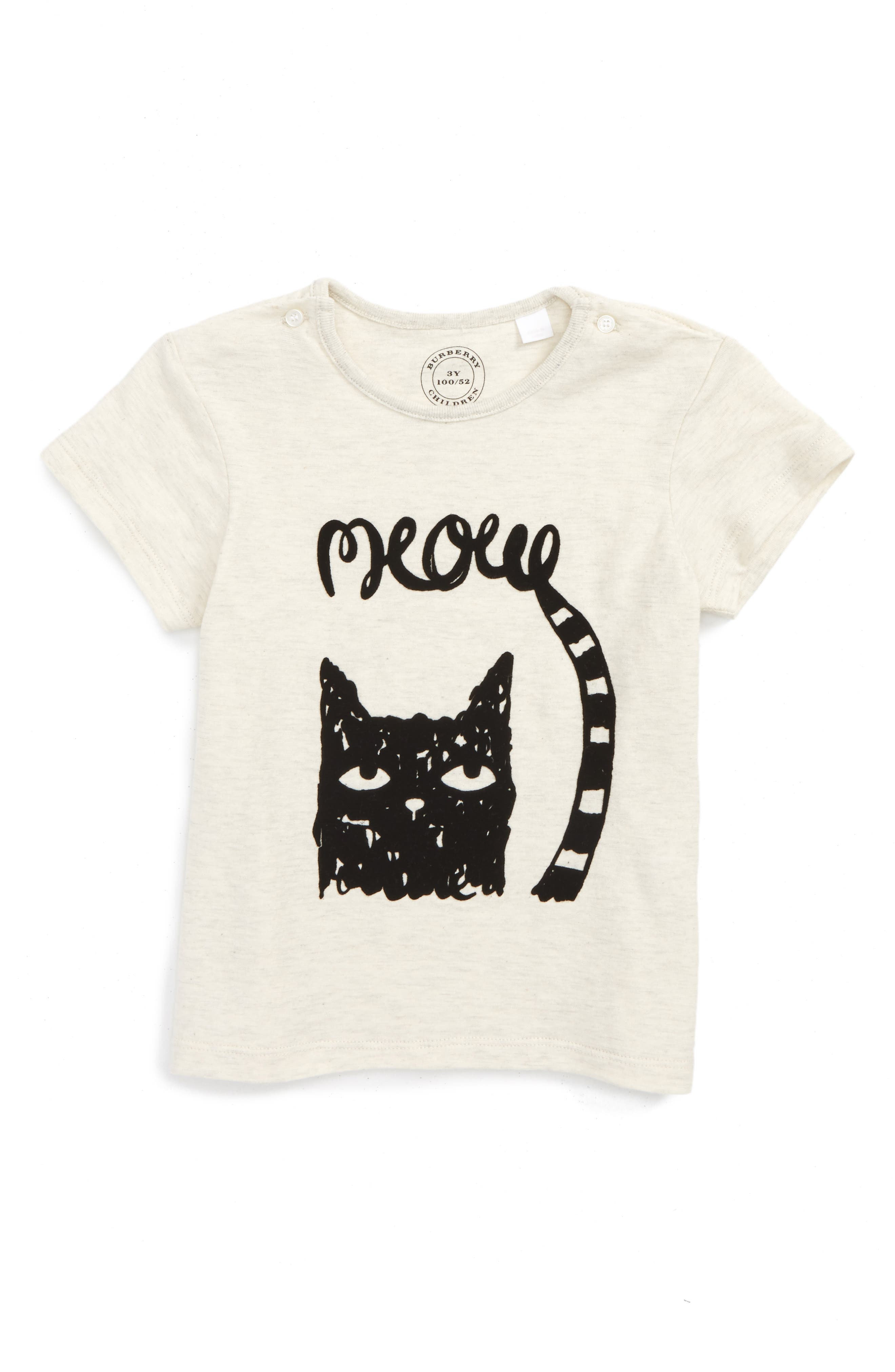 Mini Meow Graphic Tee,                             Main thumbnail 1, color,                             Natural Melange