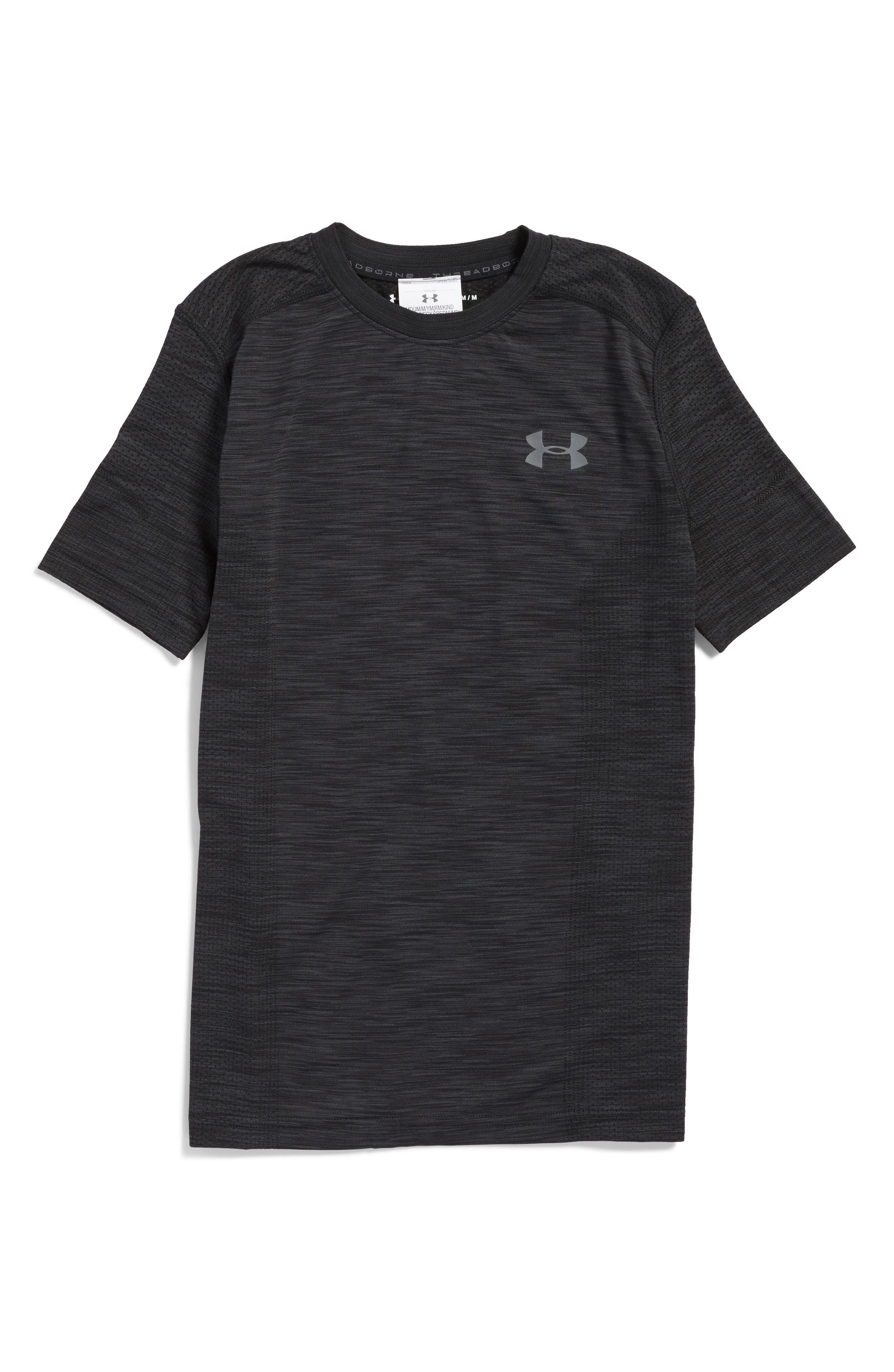 Threadborne HeatGear<sup>®</sup> Shirt,                             Main thumbnail 1, color,                             Black/ Graphite