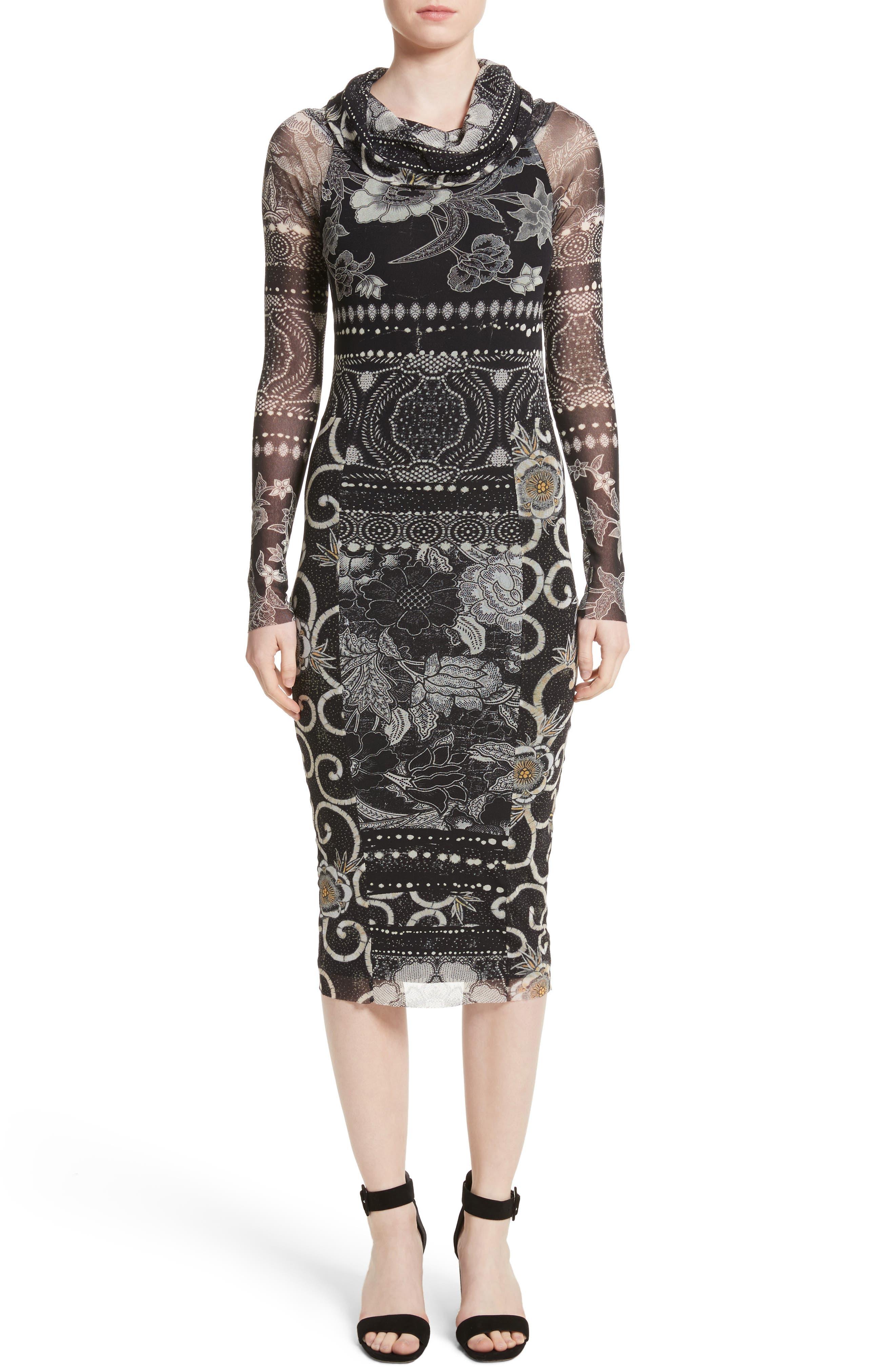 Fuzzi Mixed Print Tulle Body-Ccon Dress