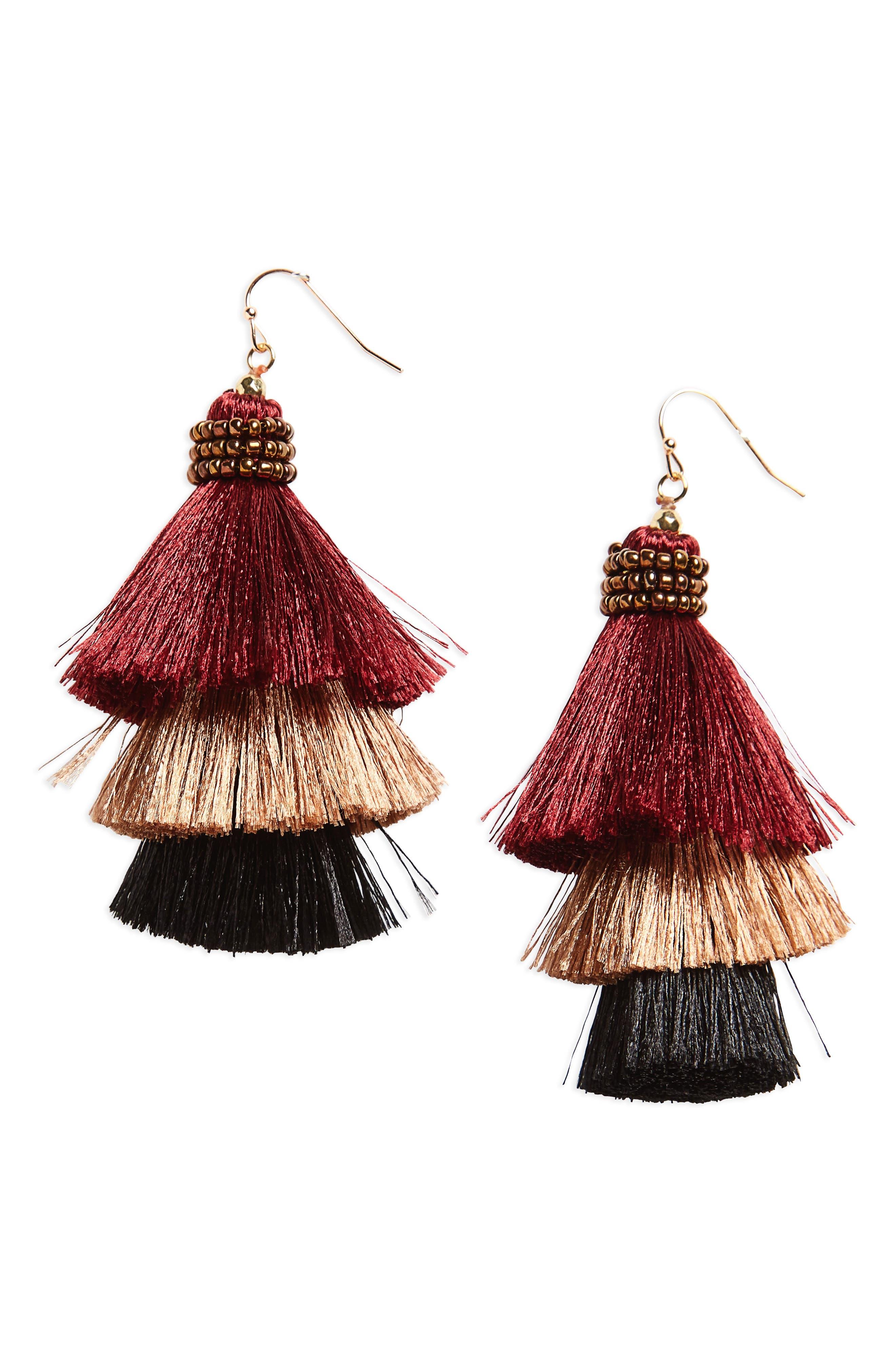 Tiered Tassel Earrings,                         Main,                         color, Burgundy