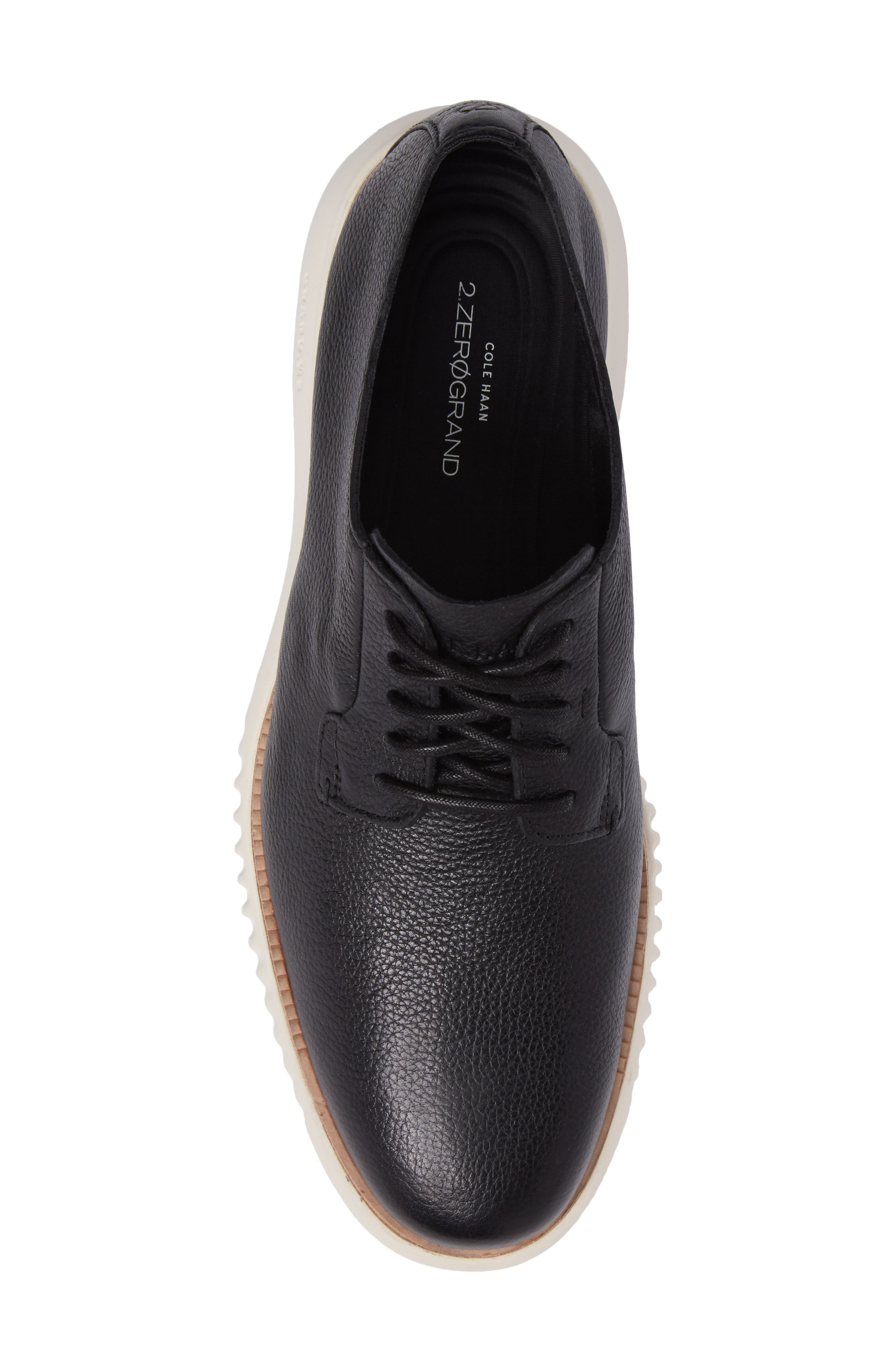 2.ZeroGrand Plain Toe Derby,                             Alternate thumbnail 5, color,                             Black/ Ivory Leather