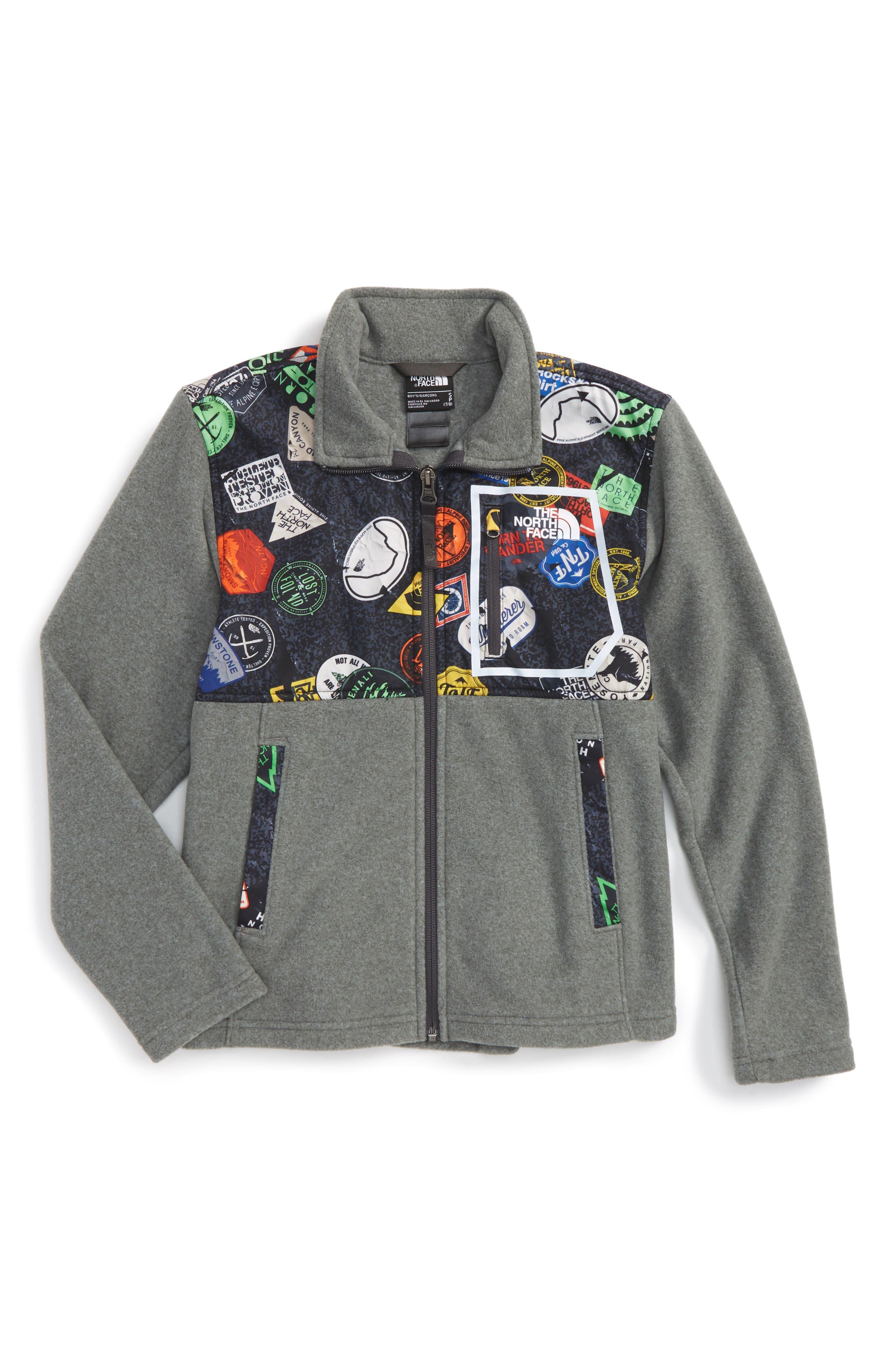 Glacier Microfleece Track Jacket,                             Main thumbnail 1, color,                             Tnf Medium Grey/ Tnf Black