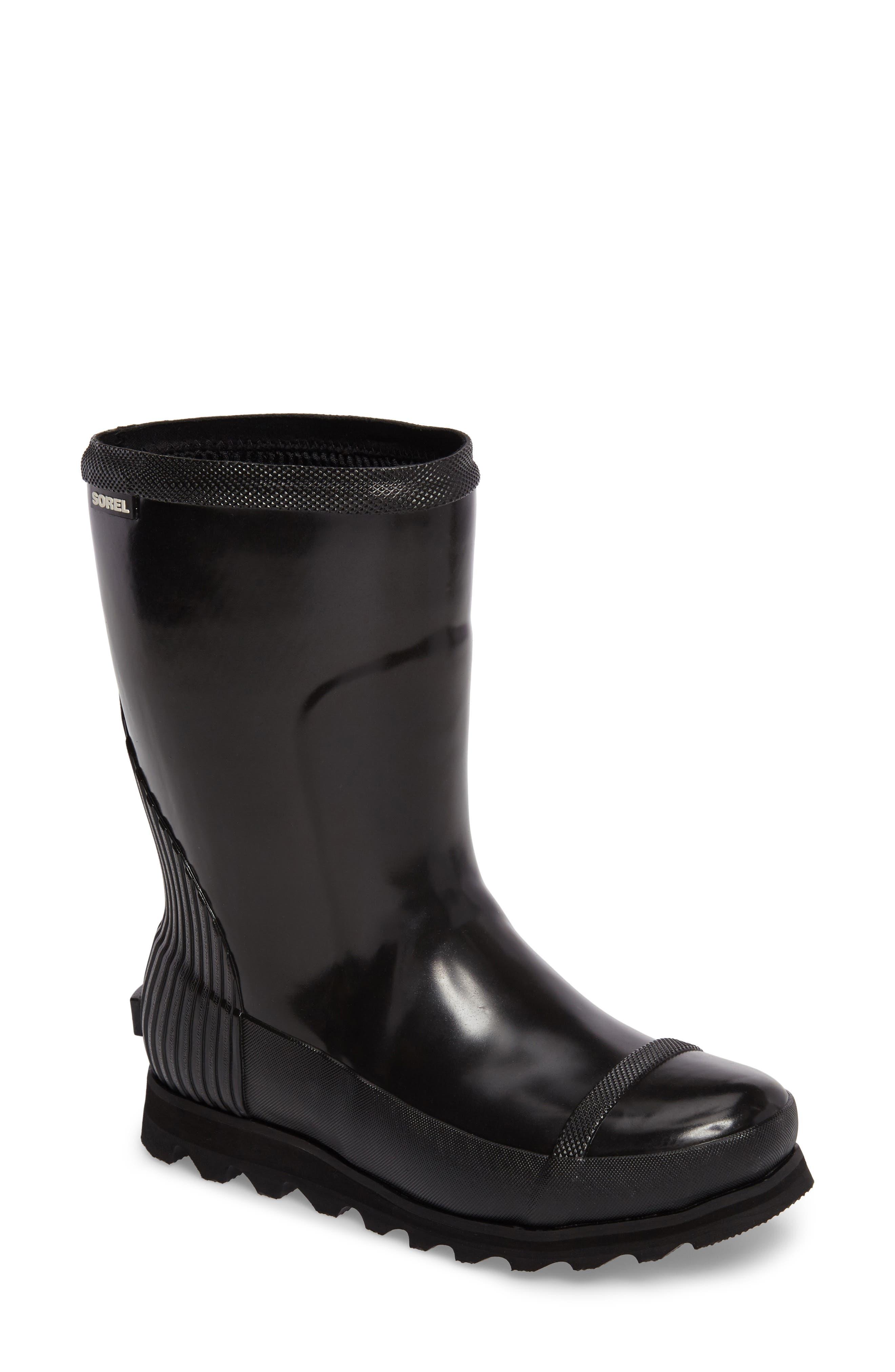 Joan Glossy Short Rain Boot,                             Main thumbnail 1, color,                             Black/ Sea Salt