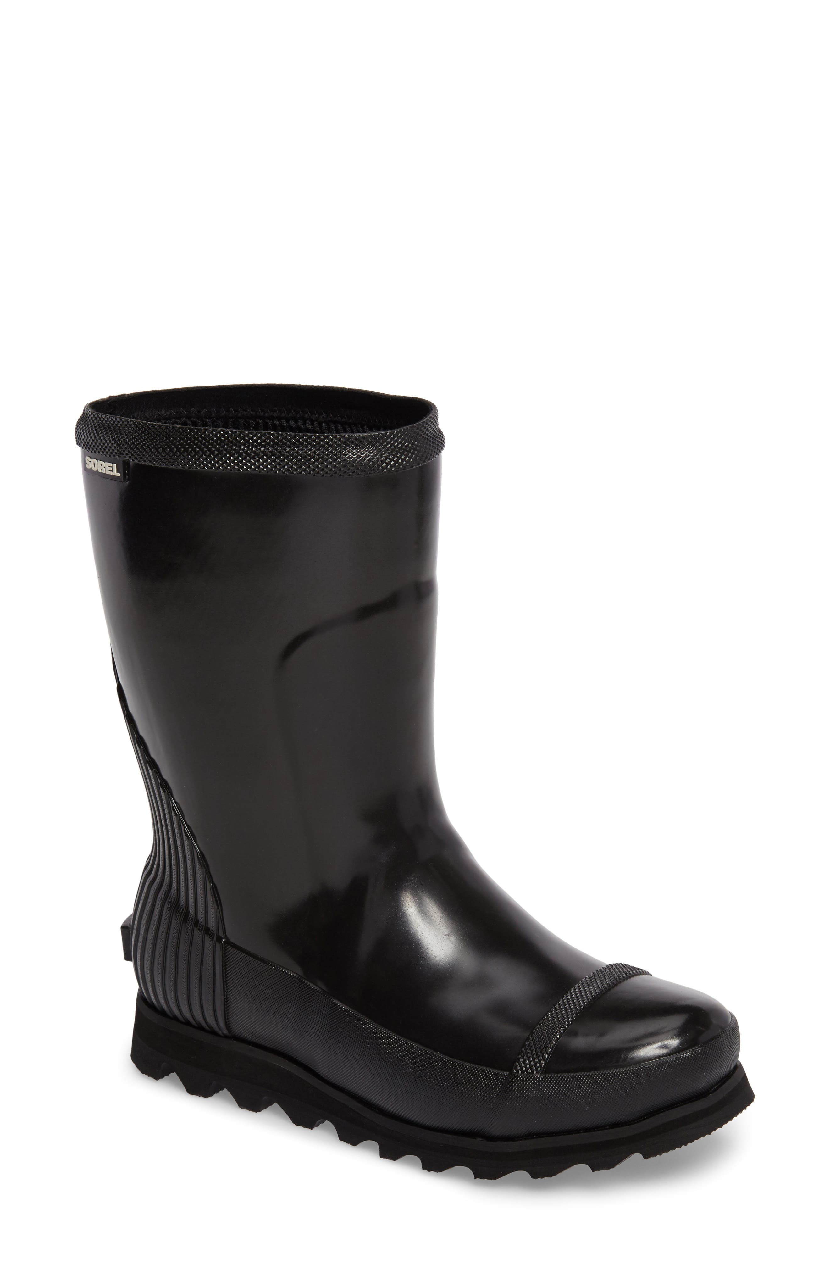 Joan Glossy Short Rain Boot,                         Main,                         color, Black/ Sea Salt