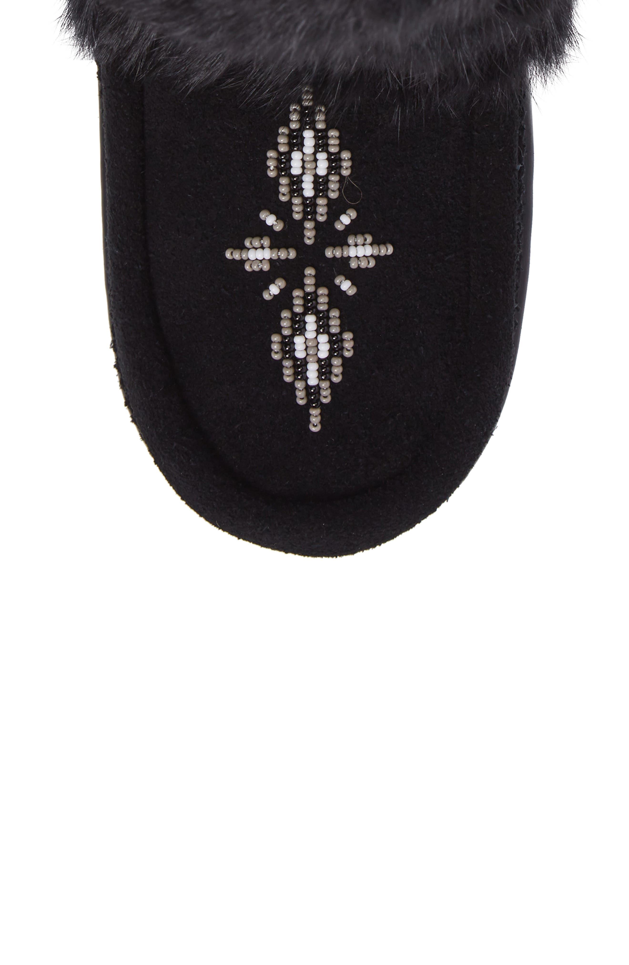 Beaded Short Wrap Genuine Rabbit Fur & Shearling Boot,                             Alternate thumbnail 4, color,                             Black Rabbit Fur