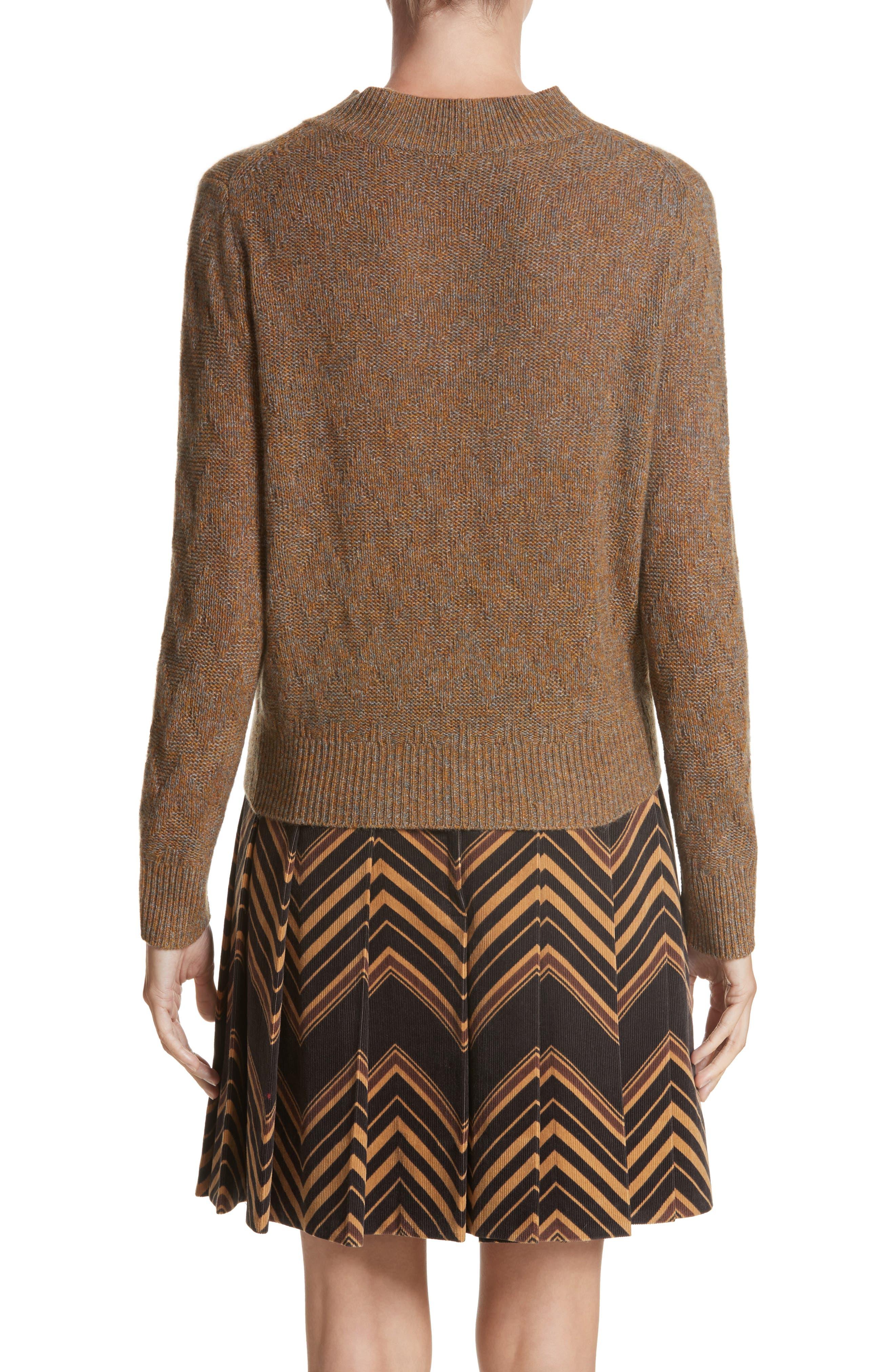 Chevron Knit Cashmere Sweater,                             Alternate thumbnail 2, color,                             Brown