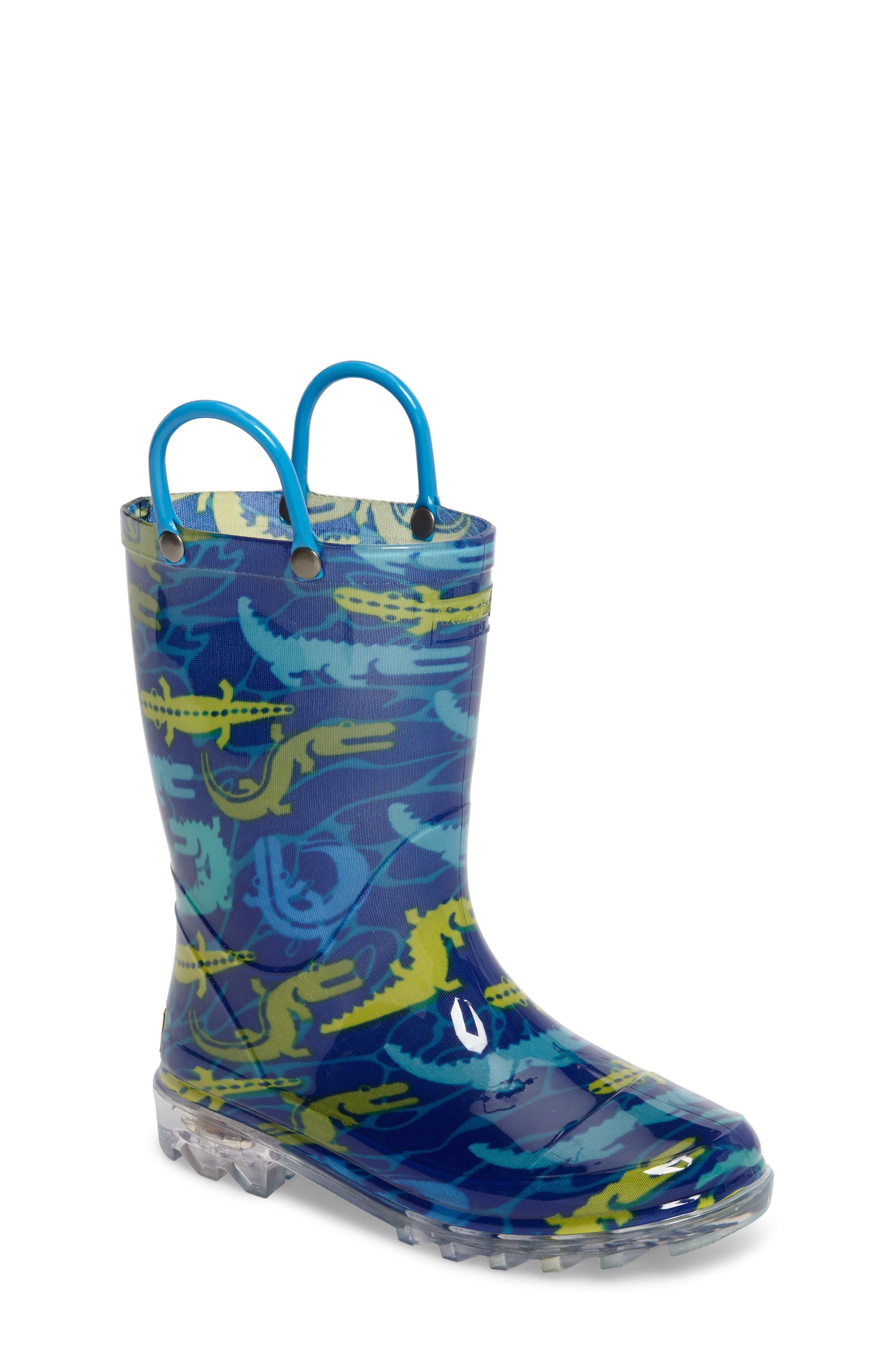Main Image - Western Chief Gators Galore Light-Up Rain Boot (Toddler & Little Kid)