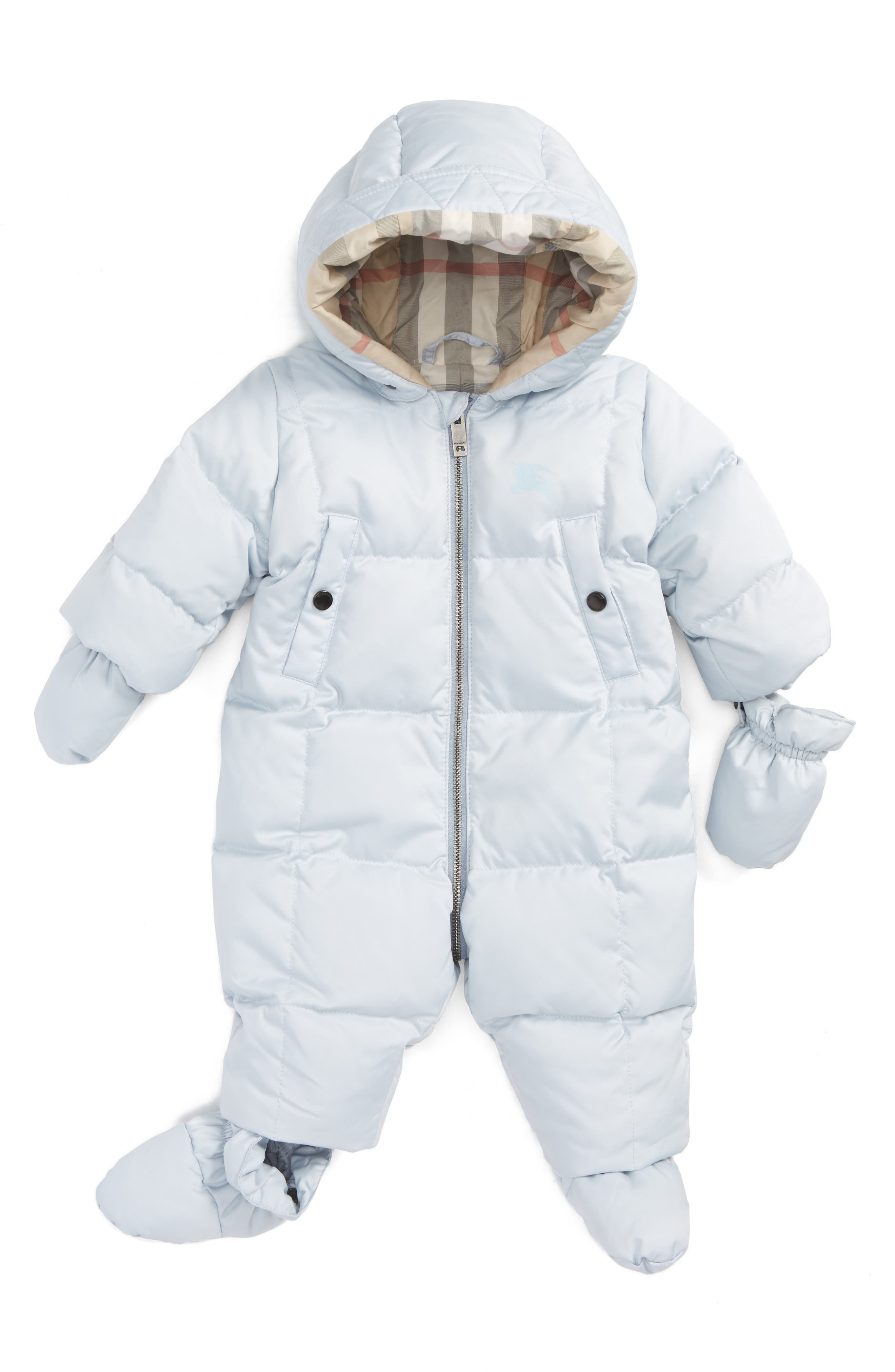 Skylar Quilted Down Snowsuit,                             Main thumbnail 1, color,                             Ice Blue