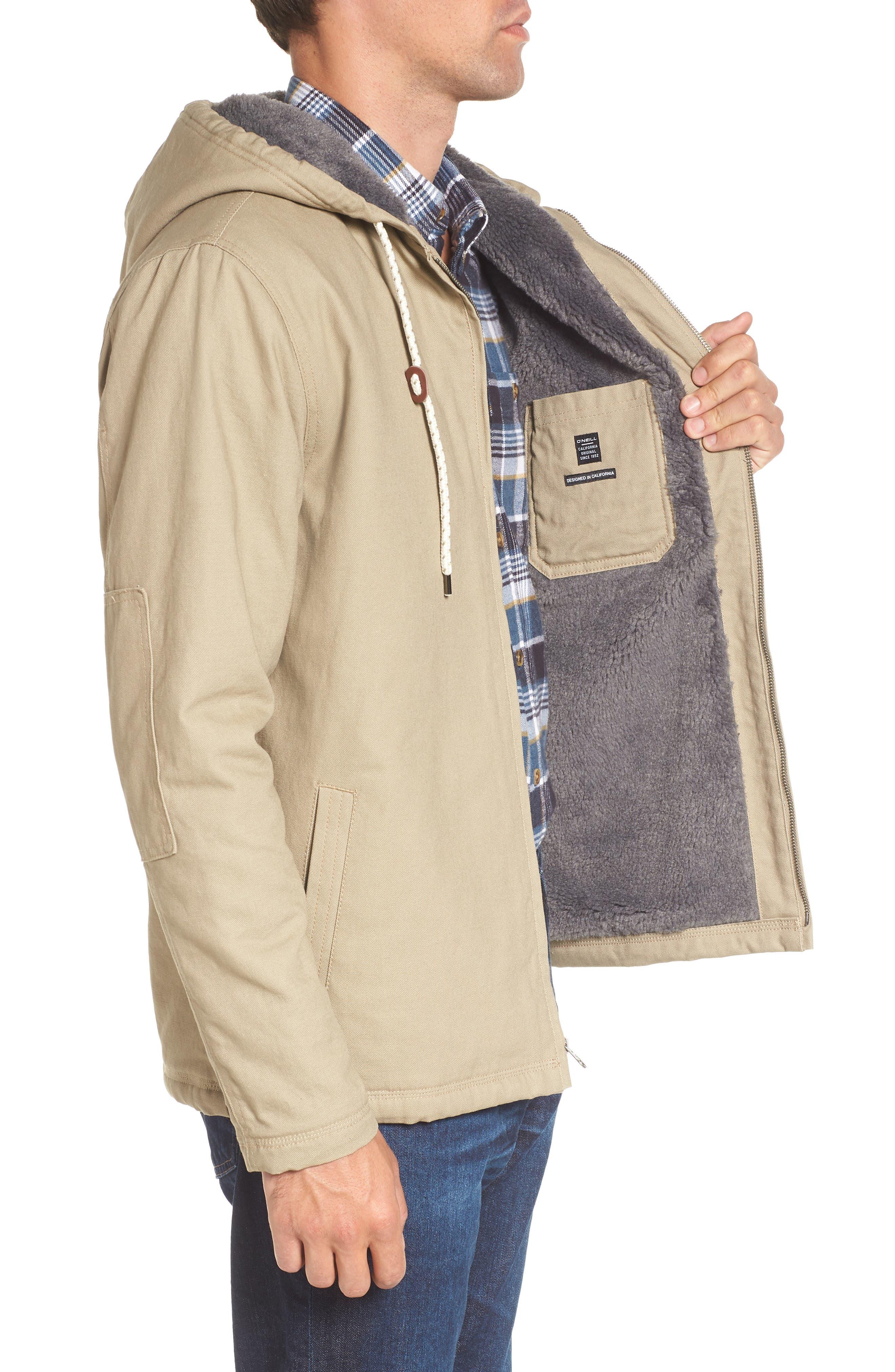 Colton Faux Shearling Trim Hooded Jacket,                             Alternate thumbnail 3, color,                             Khaki