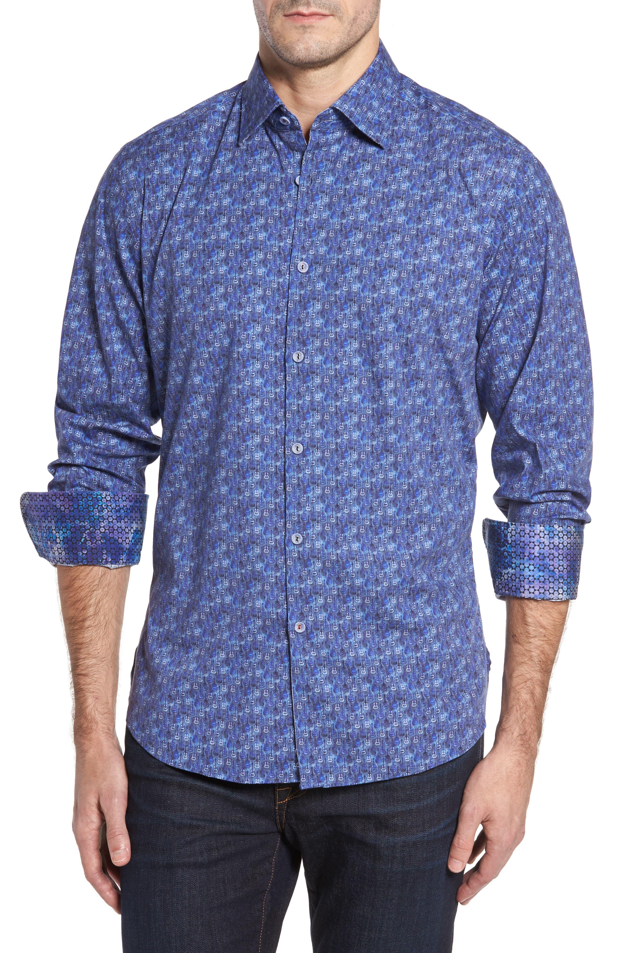 Slim Fit Guitare FX Sport Shirt,                         Main,                         color, Navy
