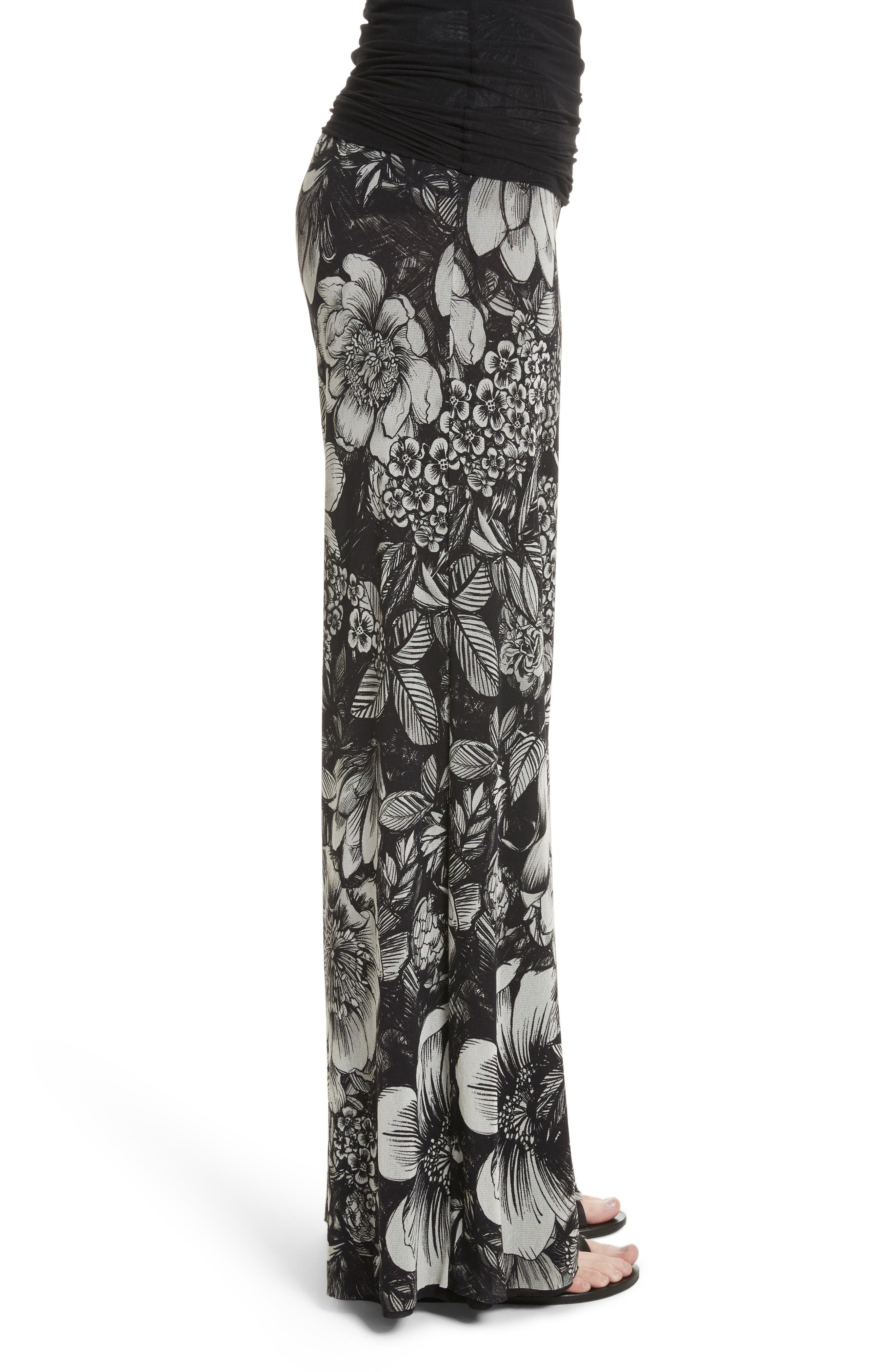 Print Tulle Wide Leg Pants,                             Alternate thumbnail 3, color,                             Nero