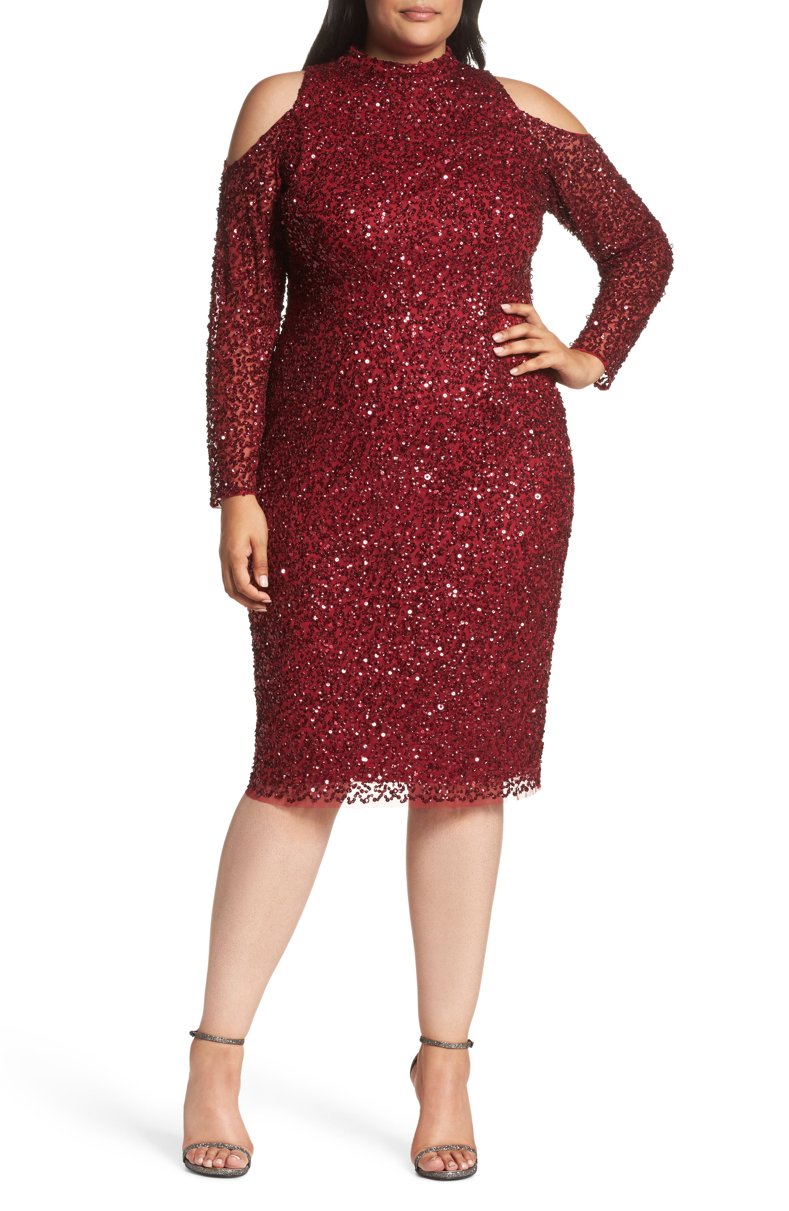 Cold Shoulder Beaded Sheath Dress,                         Main,                         color, Cranberry