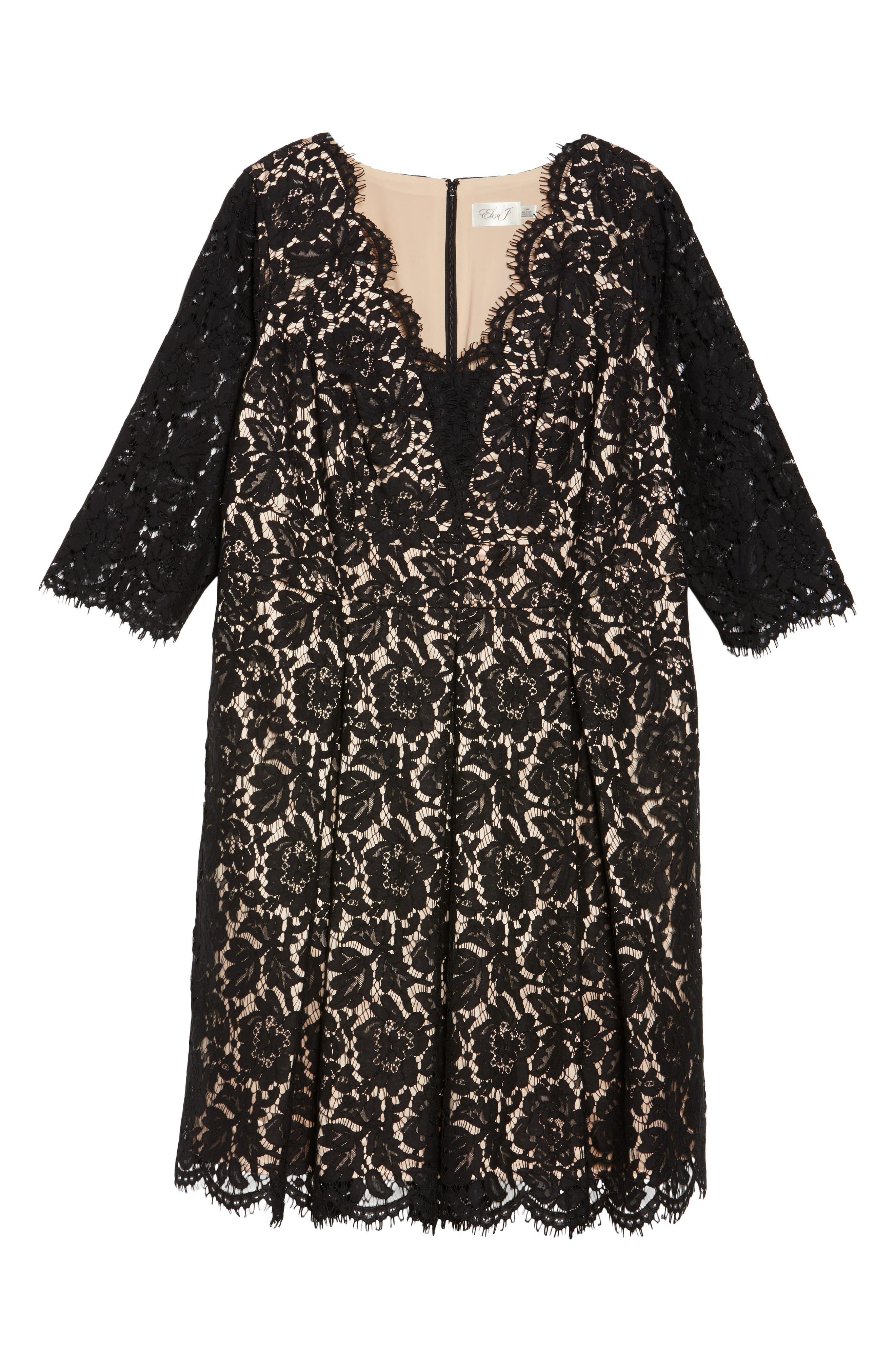 Lace Fit & Flare Dress,                             Alternate thumbnail 6, color,                             Black