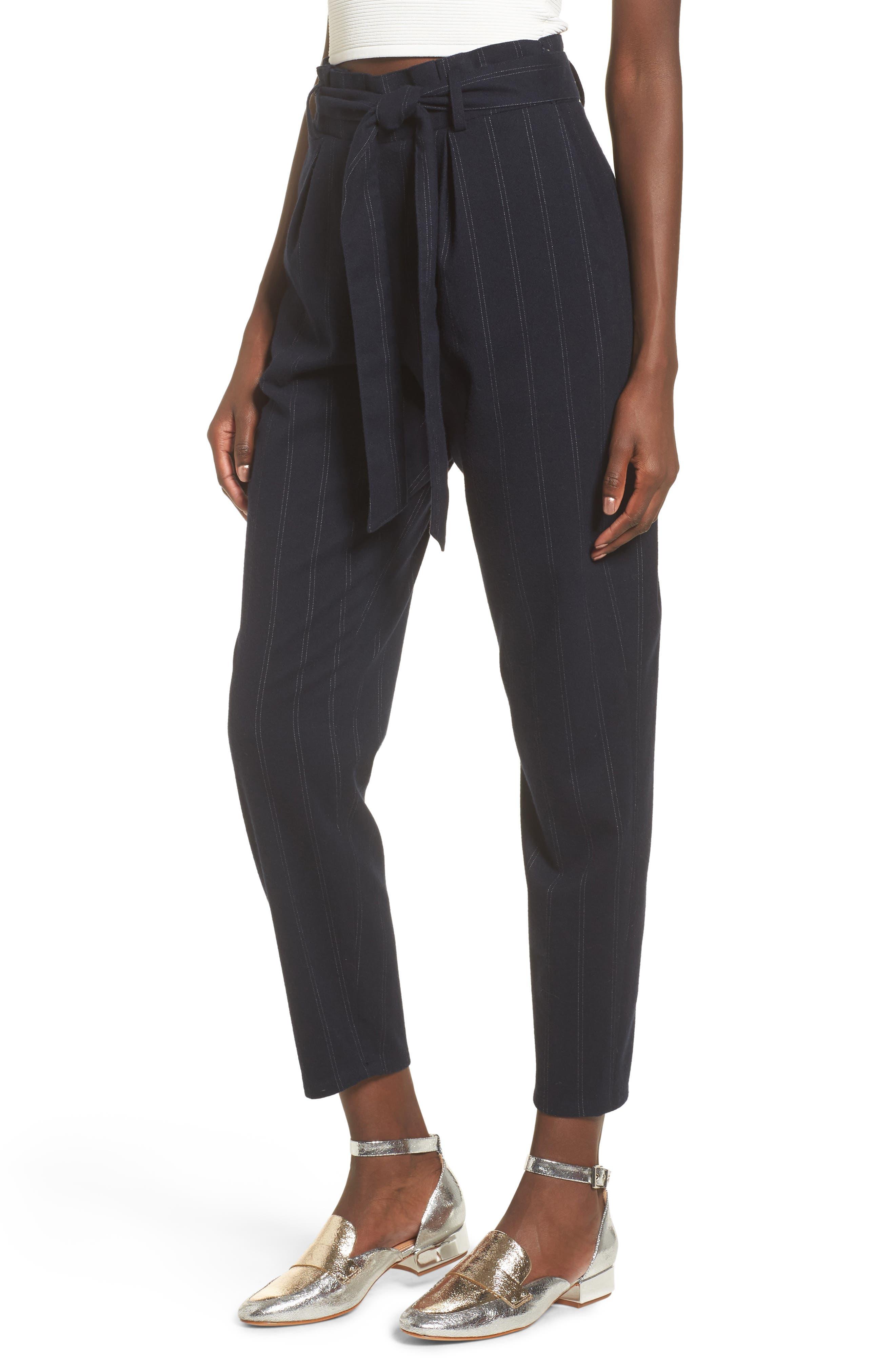 Paperbag Waist Crop Pants,                         Main,                         color, Navy Evening Ticking Stripe