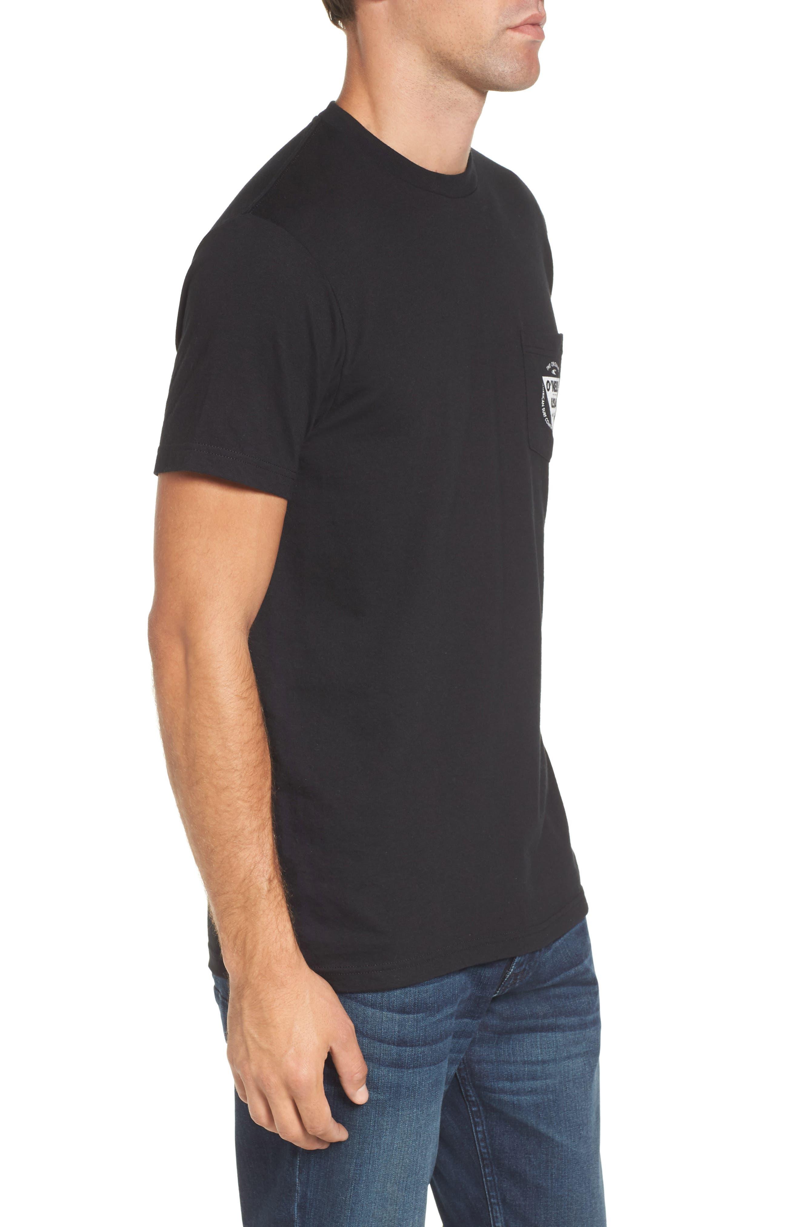 Diver Graphic Pocket T-Shirt,                             Alternate thumbnail 3, color,                             Heather Black