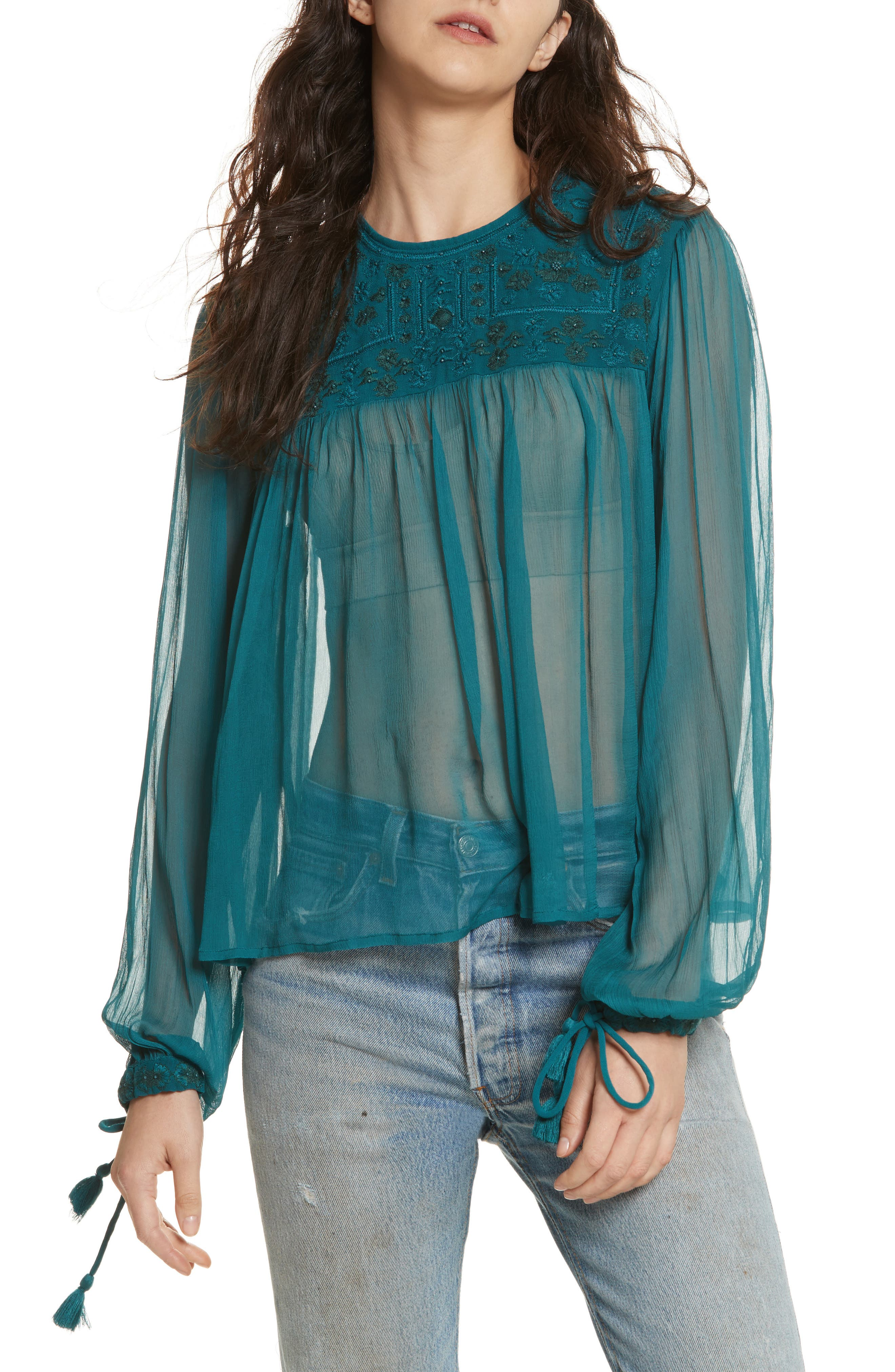 Main Image - Free People Retro Sheer Blouse