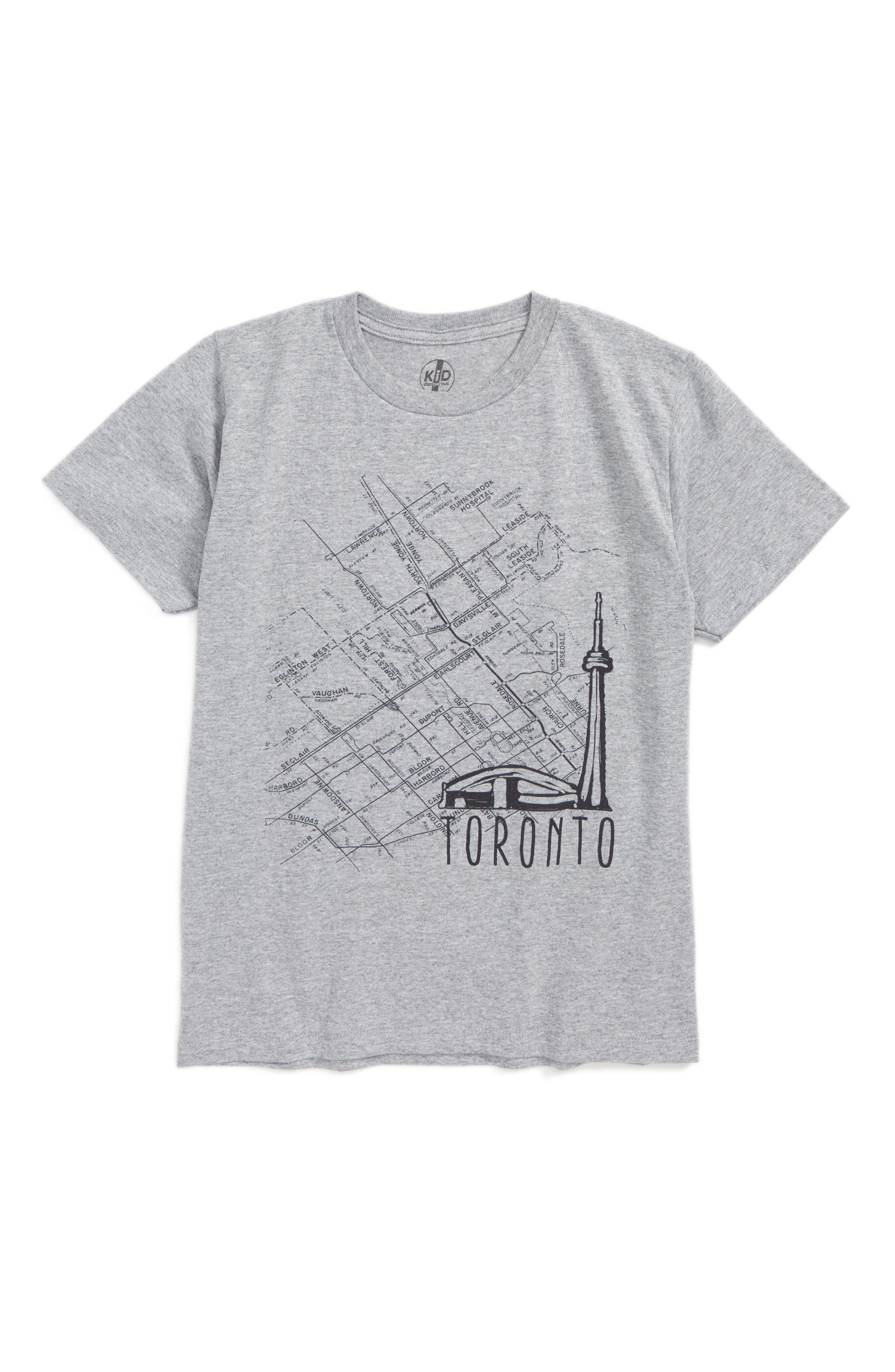 Toronto Map Graphic T-Shirt,                         Main,                         color, Medium Gray