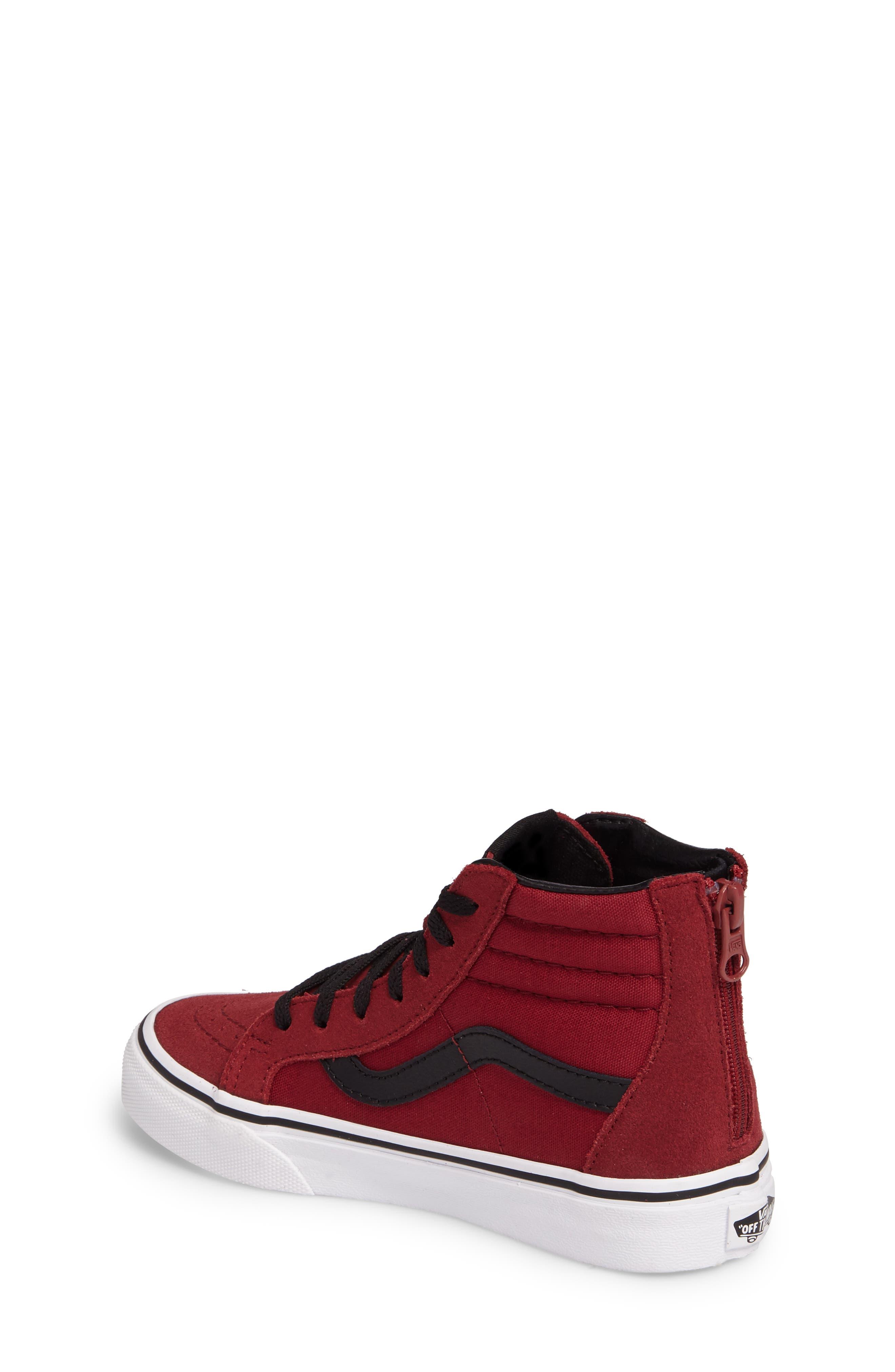 SK8-Hi Zip Sneaker,                             Alternate thumbnail 2, color,                             Tibetan Red/ Black