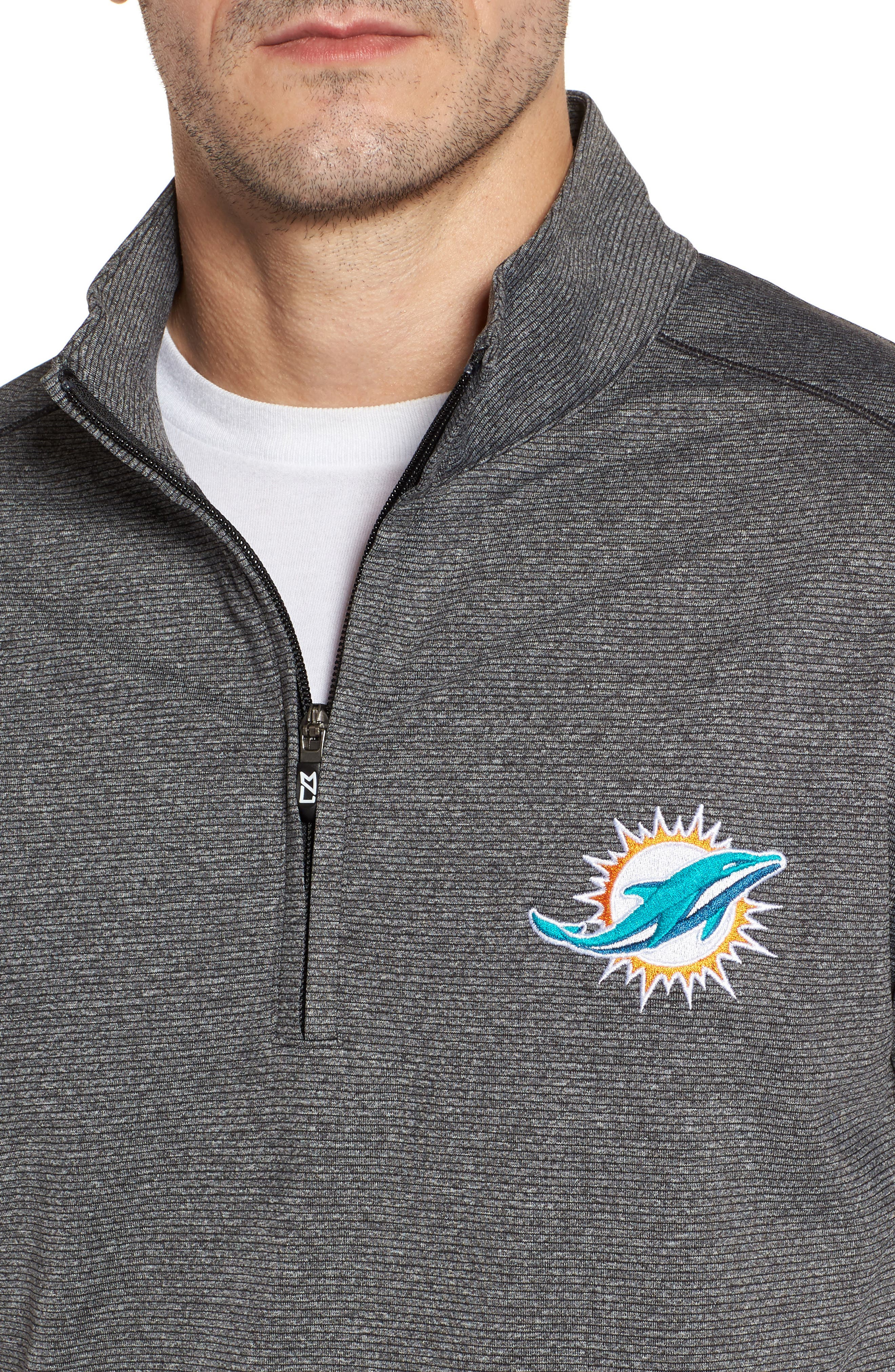 Cutter & Butter Shoreline - Miami Dolphins Half Zip Pullover,                             Alternate thumbnail 4, color,                             Charcoal Heather