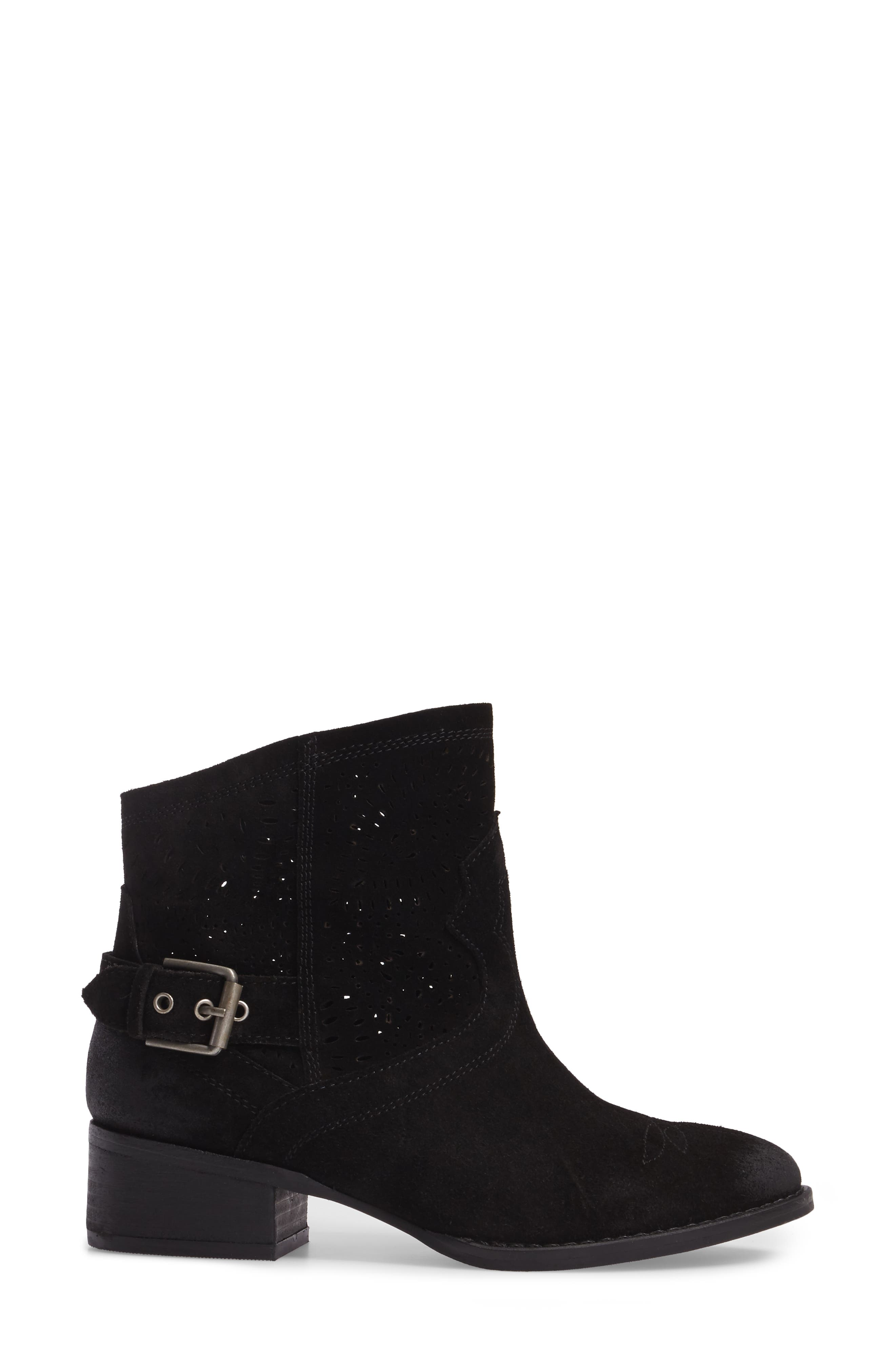 Zoey Perforated Bootie,                             Alternate thumbnail 3, color,                             Black Suede