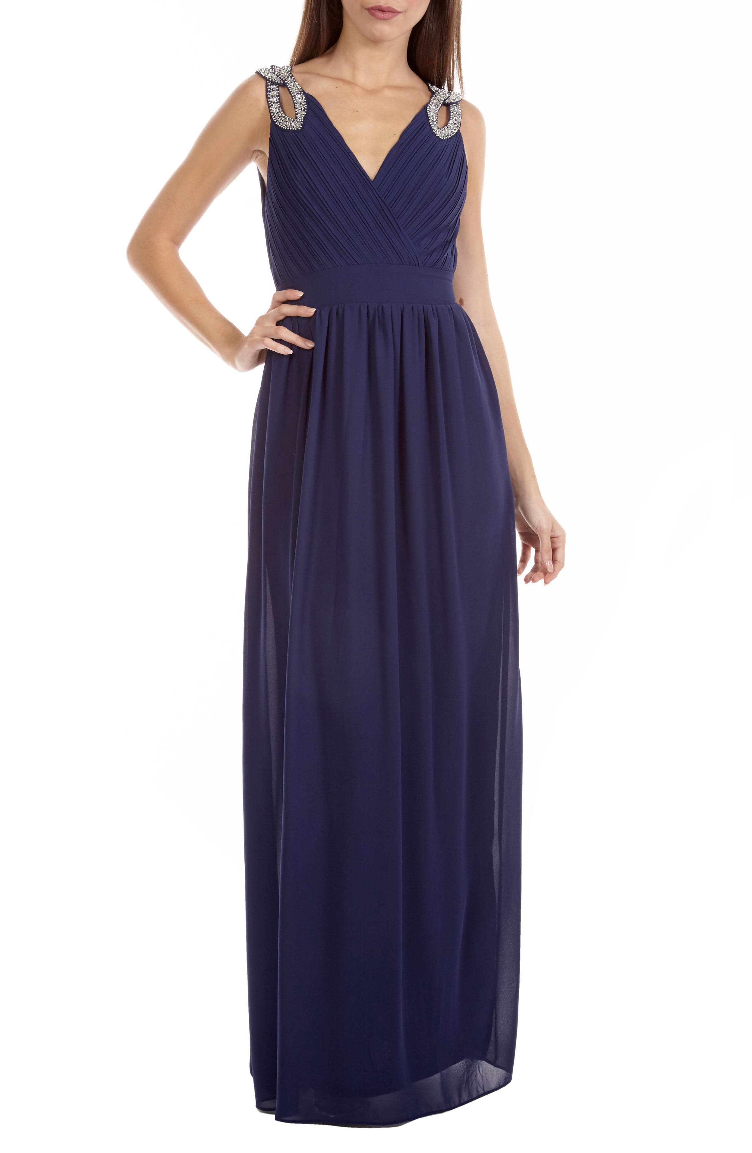 Debbie Embellished Pleated Chiffon Gown,                         Main,                         color, Navy