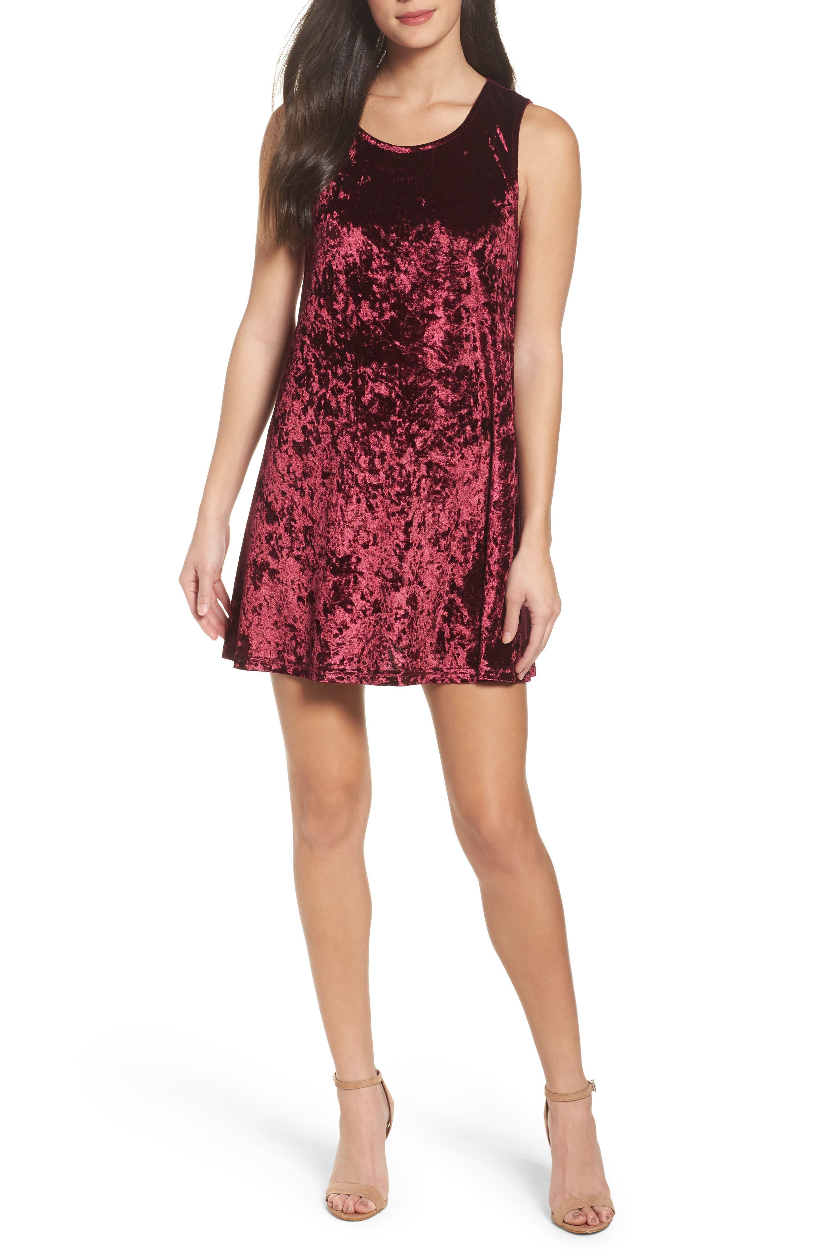 Main Image - BB Dakota Crushed Velvet Shift Dress